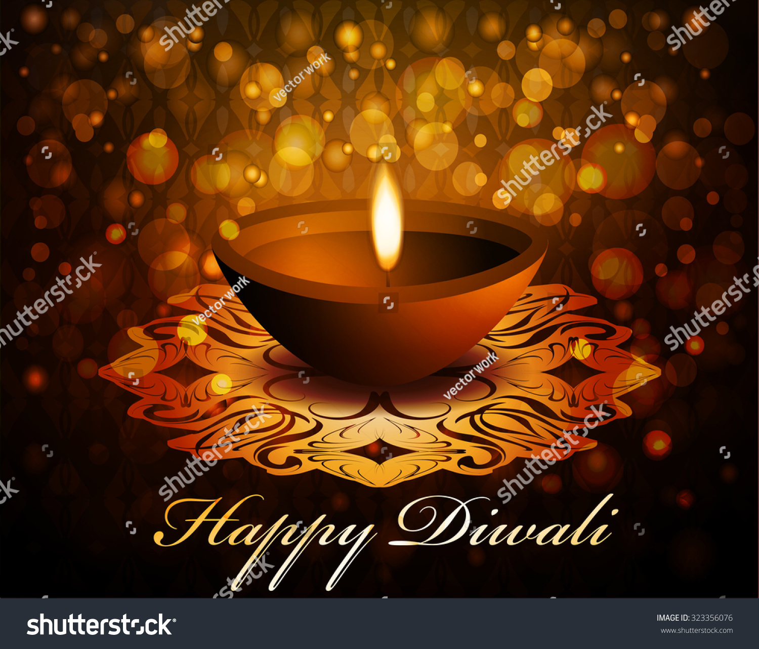 Happy Diwali Greeting Card Holiday Indian Stock Vector Royalty Free