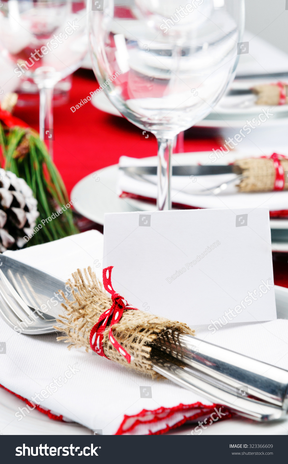 Christmas Holiday Dinner Setting Red White Stock Photo (Edit Now ...
