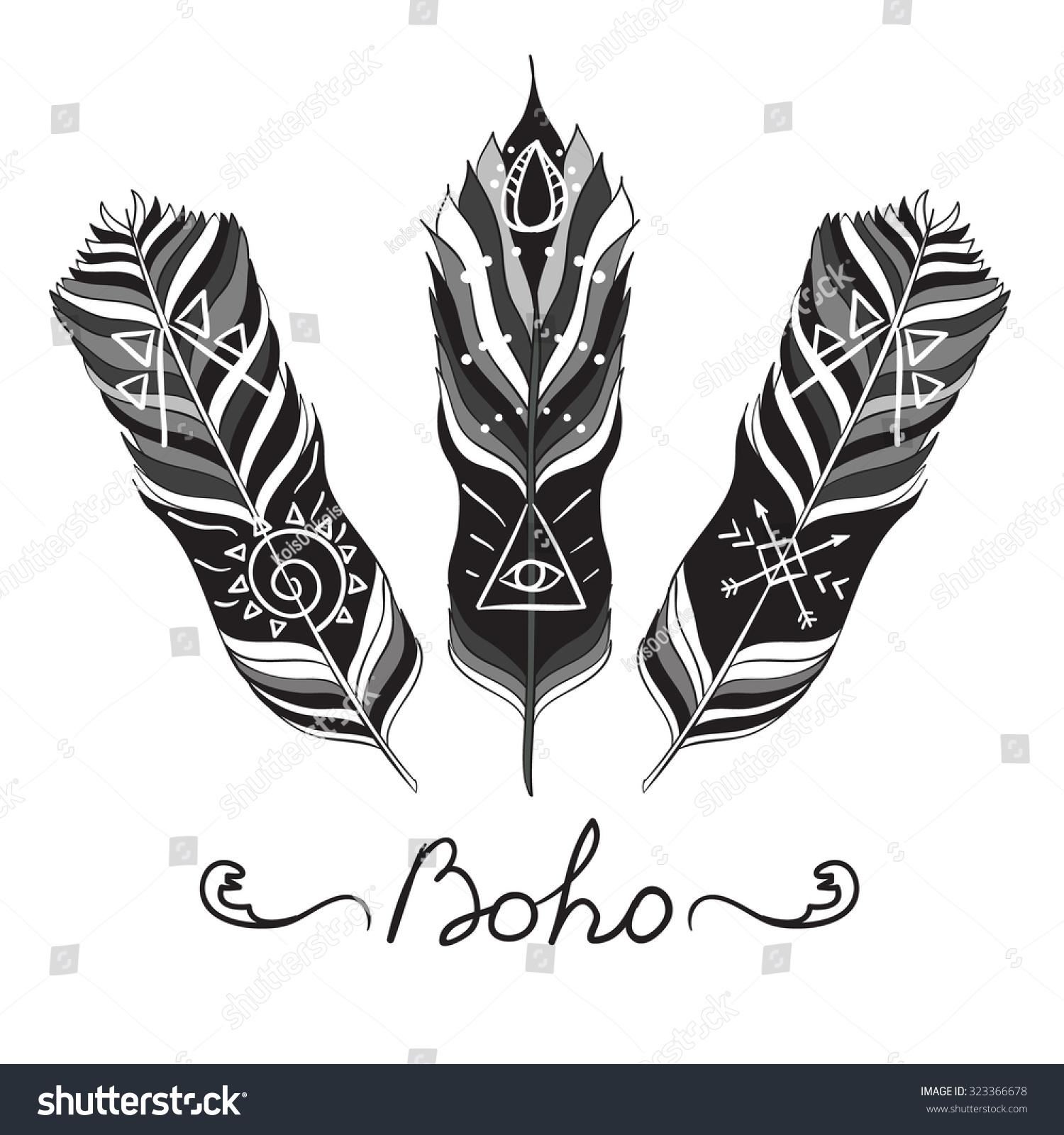 Bohemian Symbols Ethnic feathers with spiritual symbols , isolated on ...