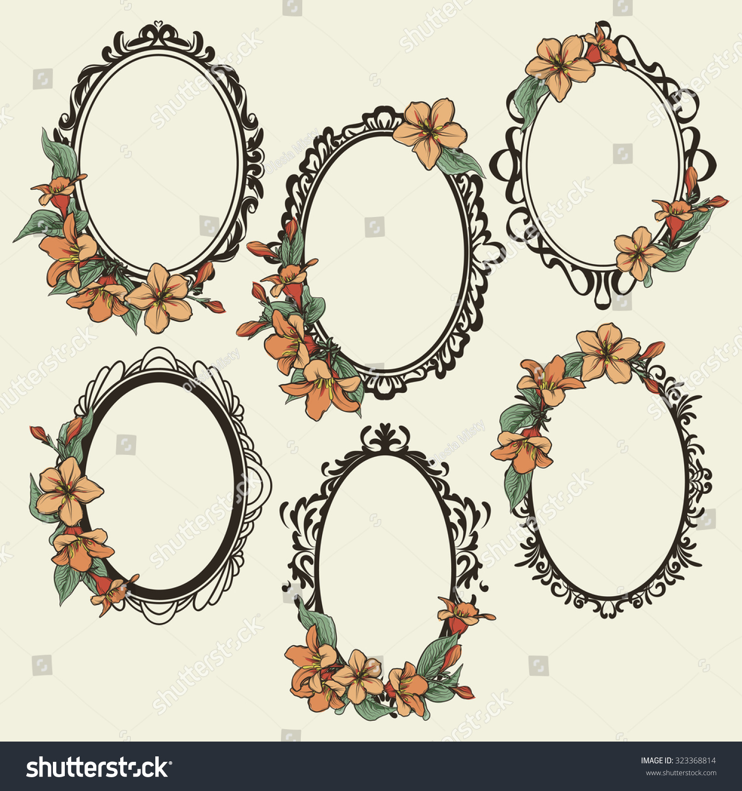 set of vintage oval frames decorated with flowers and leaves