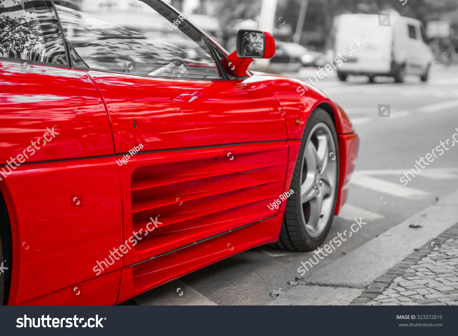 Red Sports Car On City Streets, Black And White Background ...