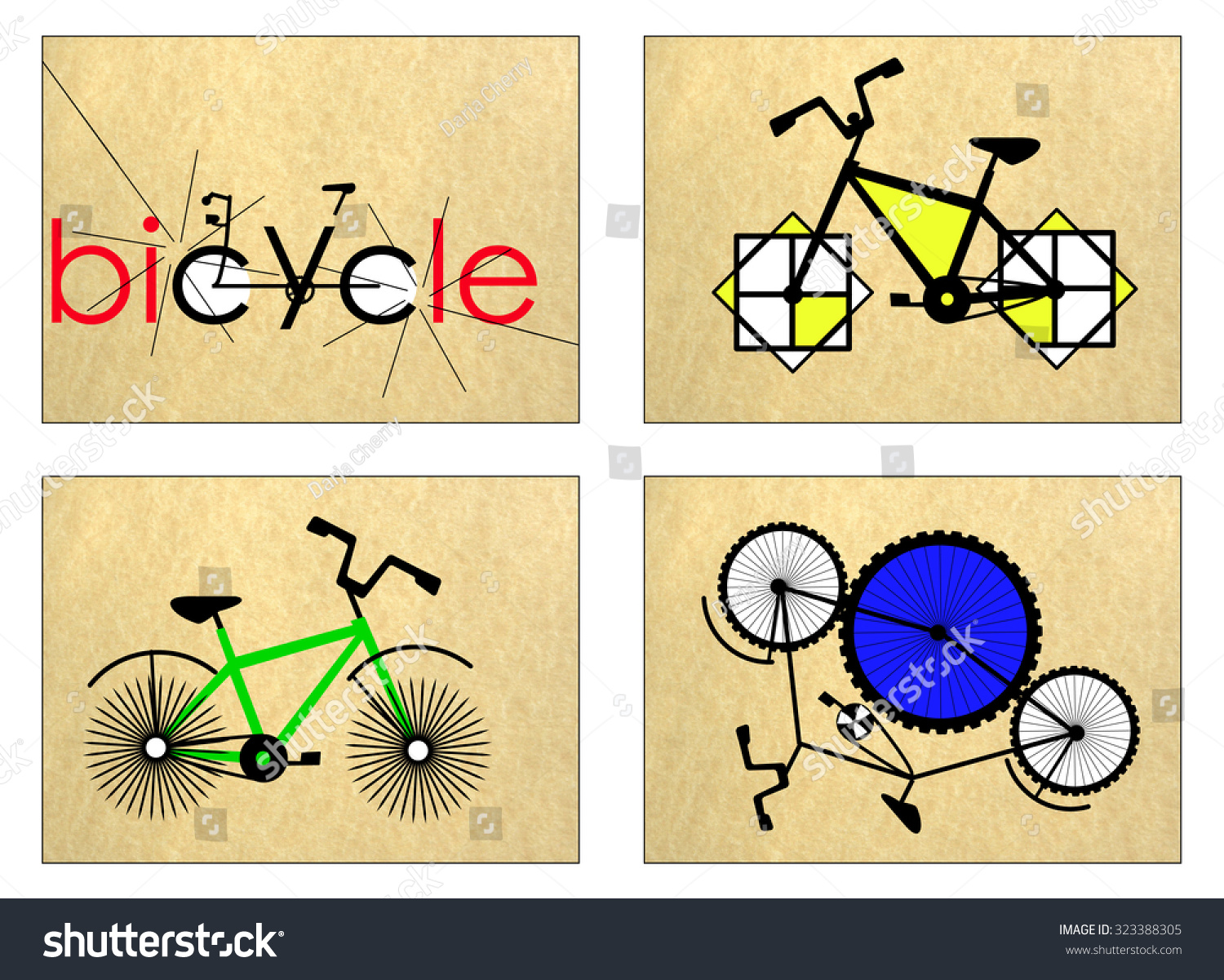 Stylized Unreal Fantasy Bicycle Postcards Business Stock ...