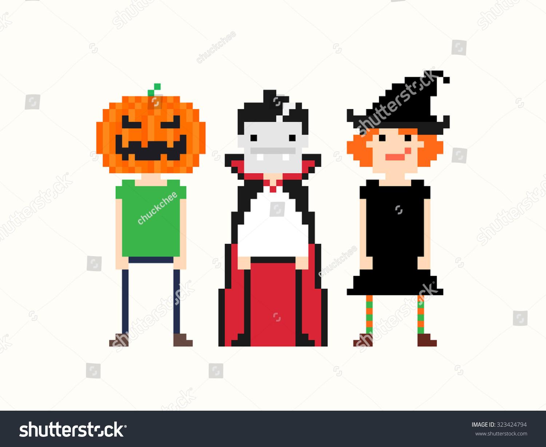 Pixel Art Characters In Halloween Stock Photo 323424794