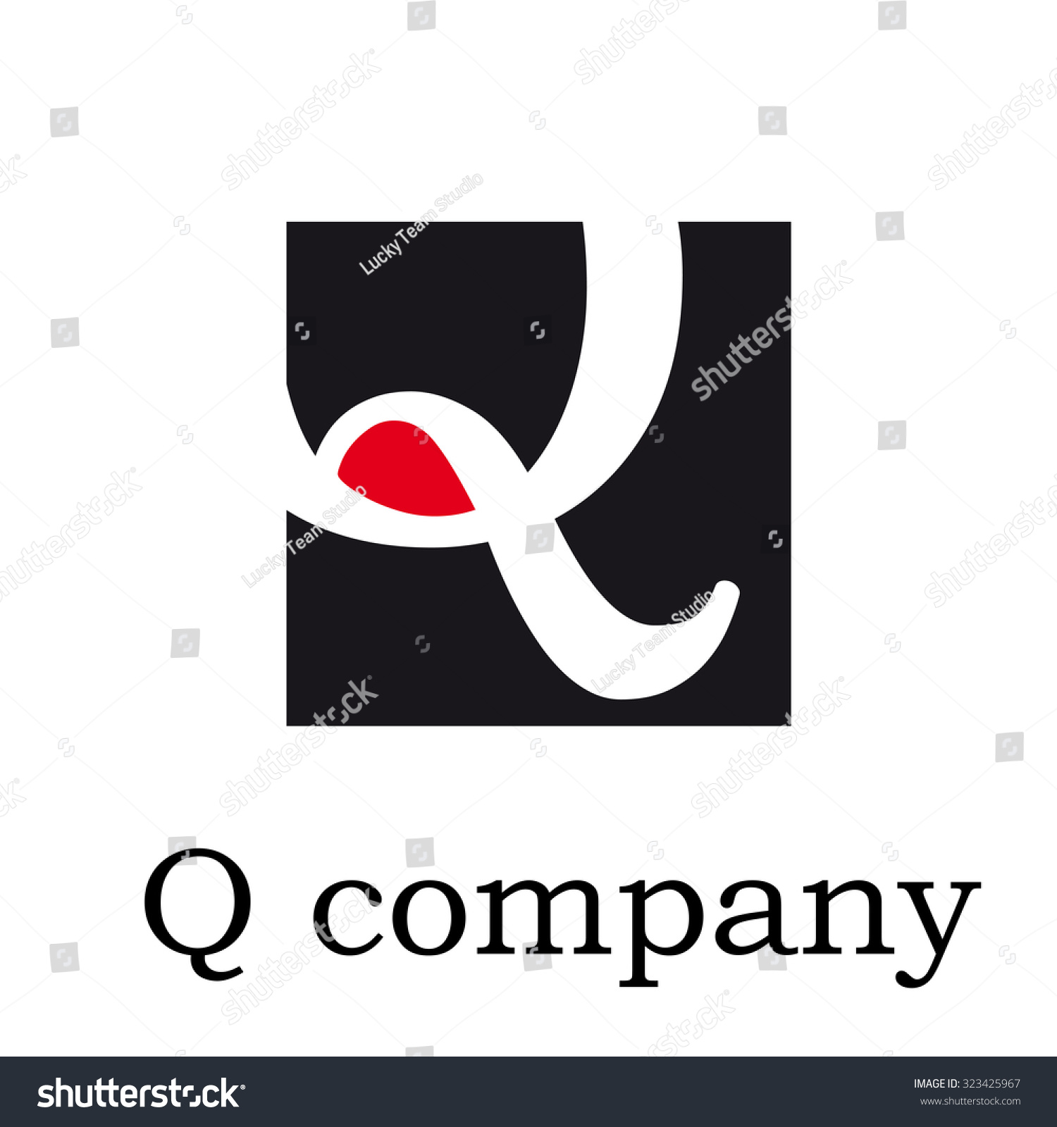 Vector icon Vector initial letter Q on red and black