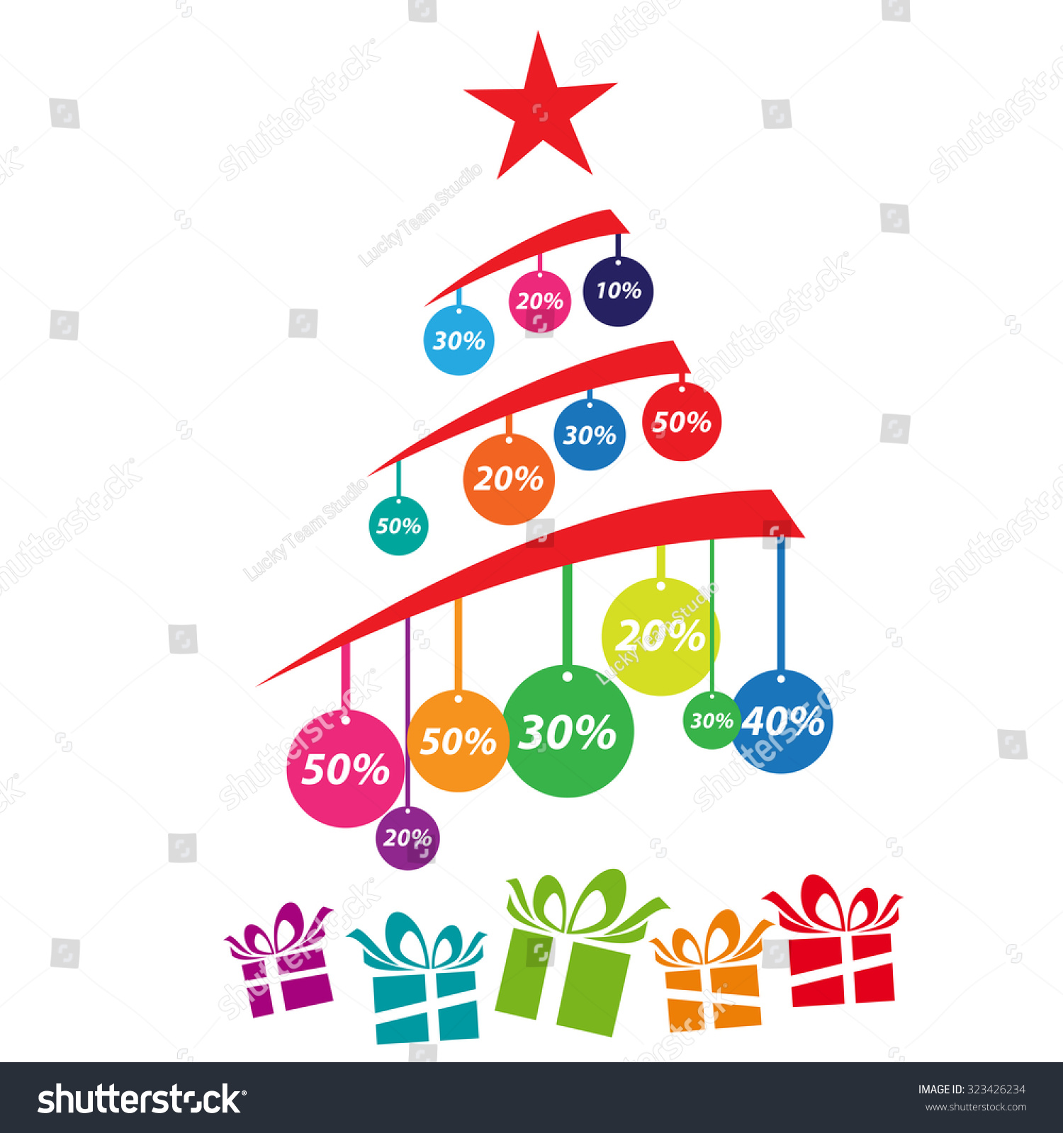 Vector Cover Discounts On Christmas Tree Stock Vector 323426234  - Christmas Tree Discounts