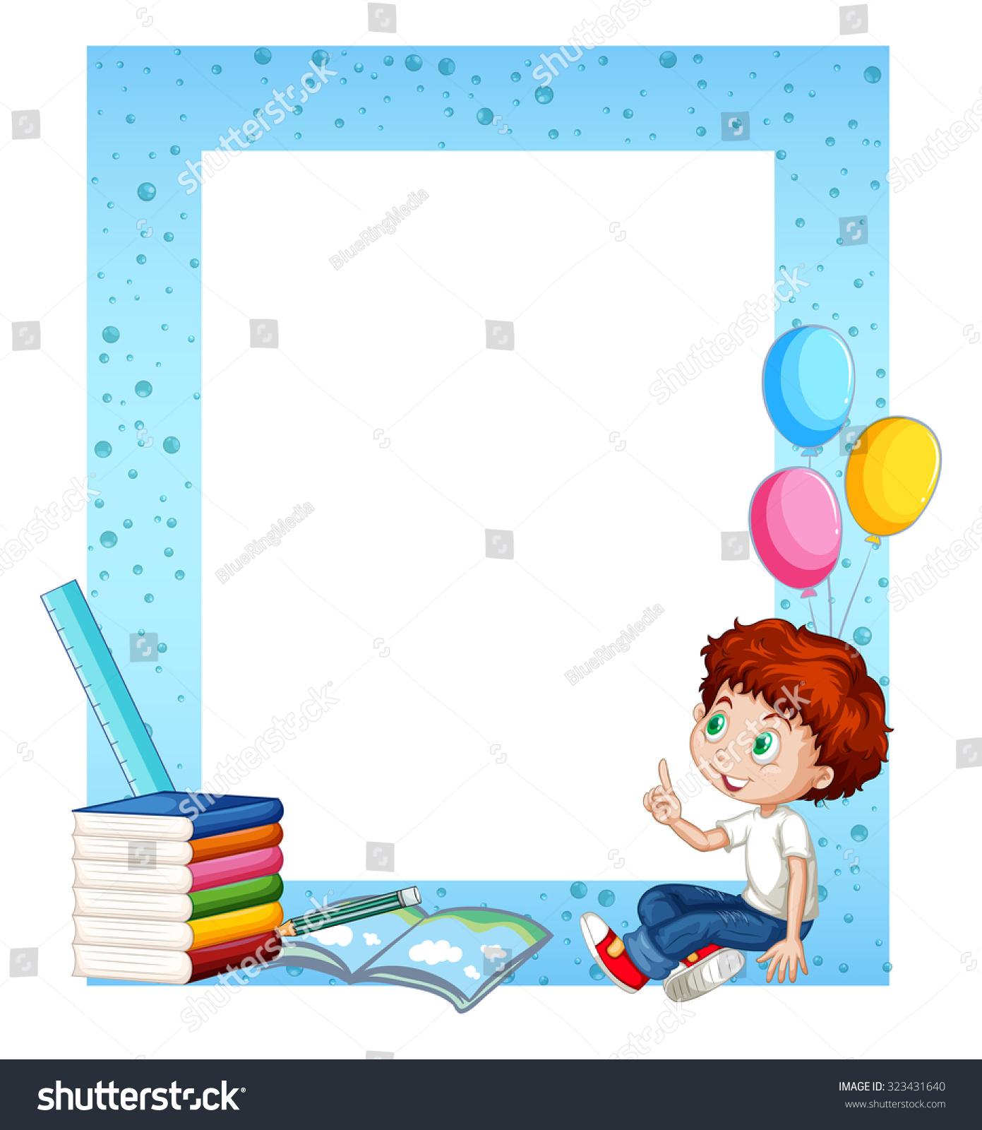 Little Boys Toys Border : Little boy and books around border illustration