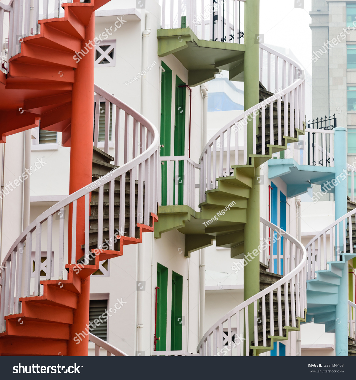Colorful Spiral Staircases At The Back Of Traditional Chinese Shop