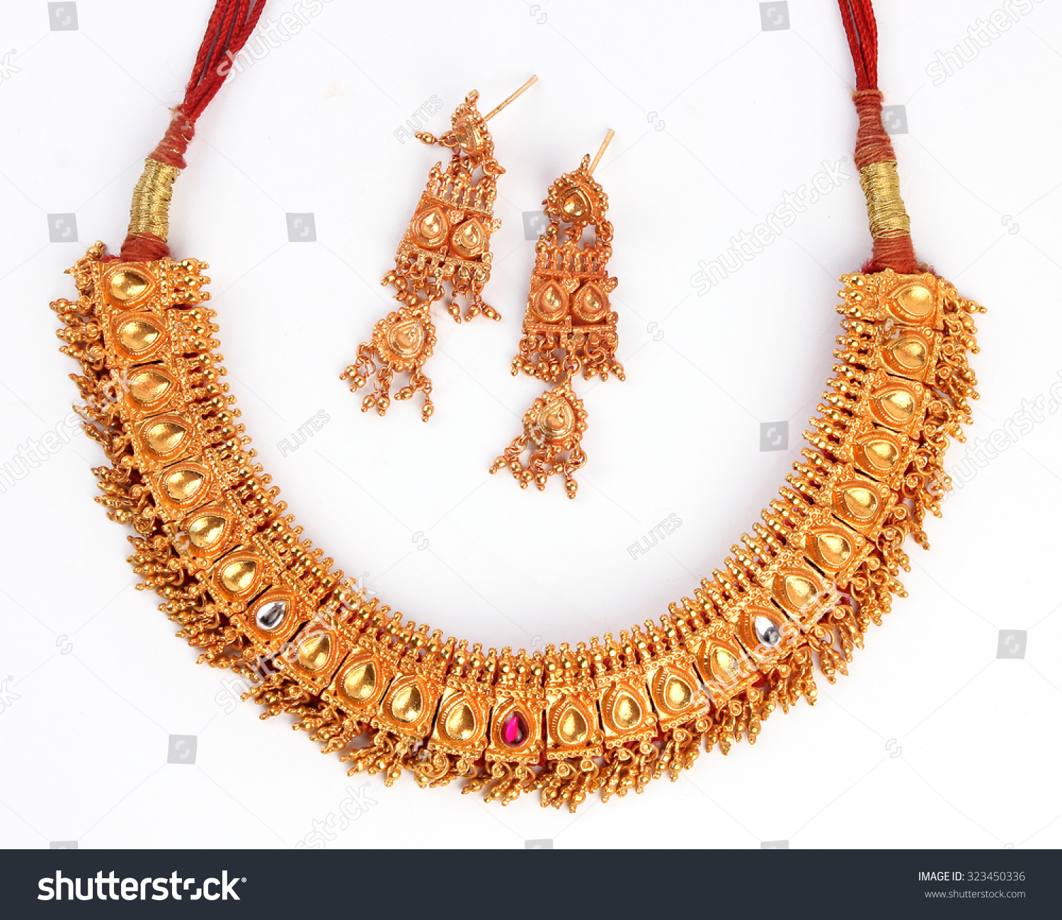 Indian Traditional Gold Jewellery Necklace Earrings Stock Photo ...