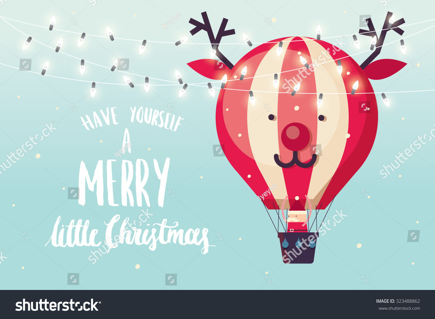 Reindeer hot air balloon christmas greeting stock vector royalty reindeer hot air balloon christmas greeting template vectorillustration m4hsunfo
