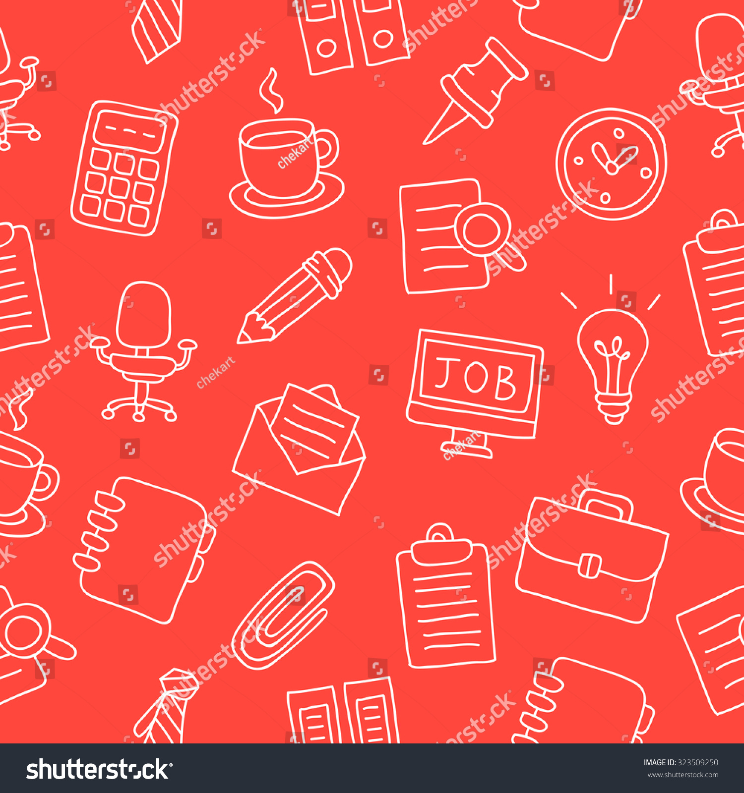 Seamless vector pattern of office icons on a red background, hand-drawn.