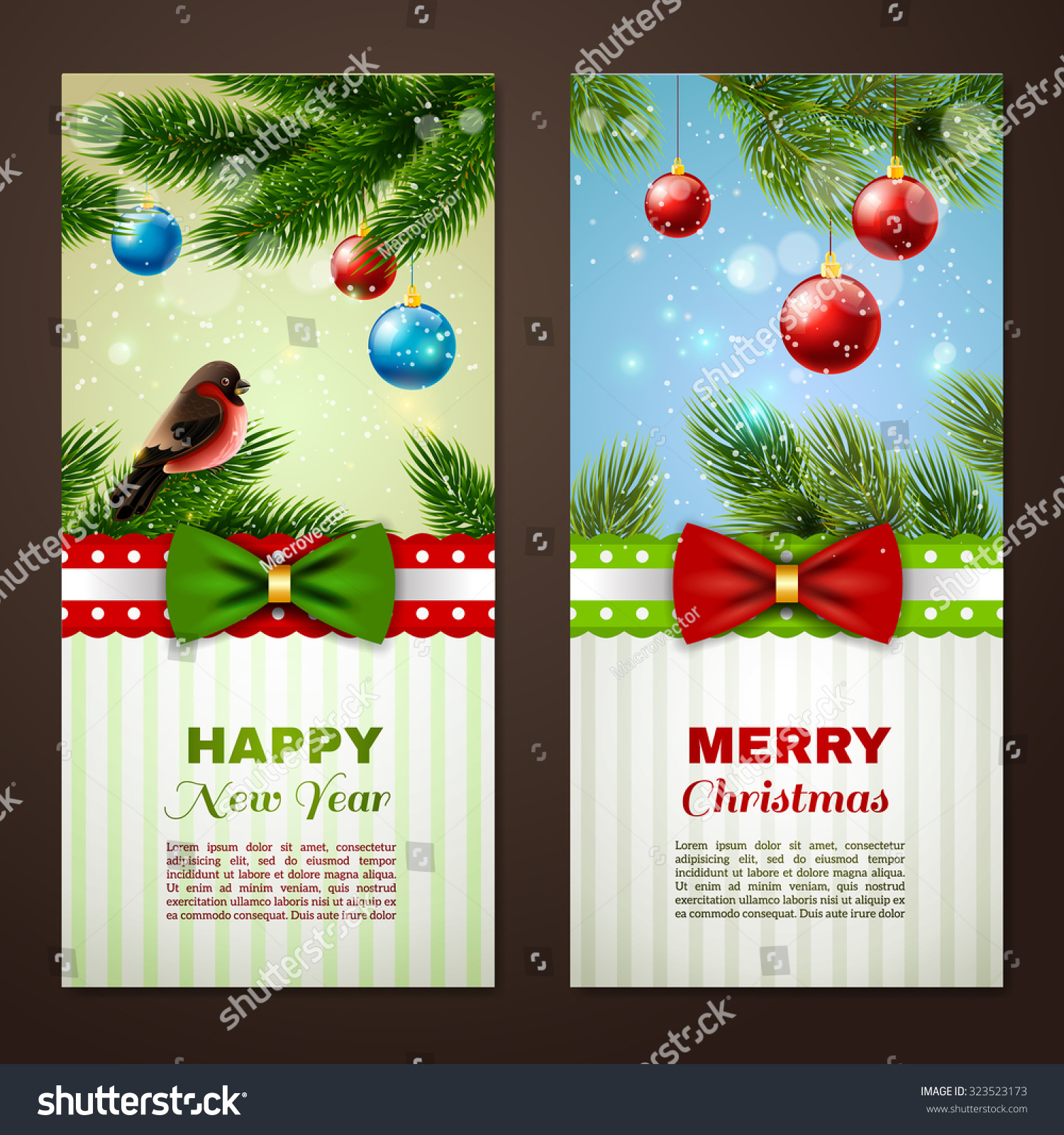 christmas and new year season classic greetings cards samples 2 vertical banners set abstract isolated vector