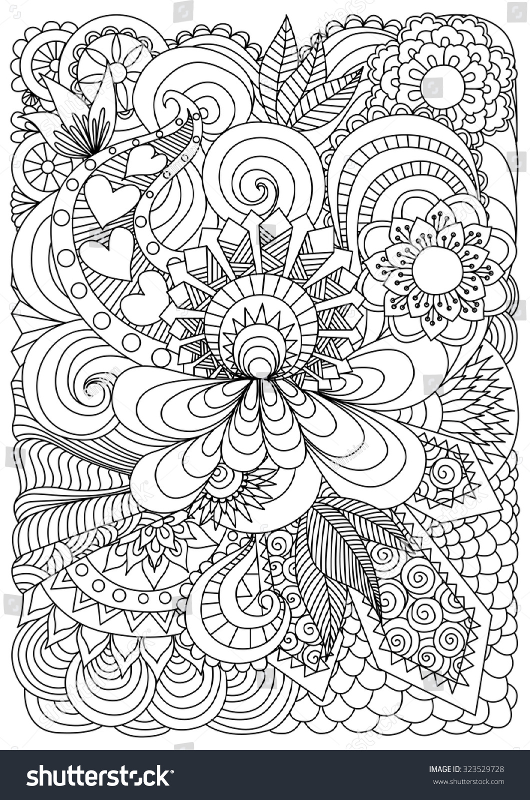Hand drawn zentangle floral background coloring stock for Background coloring pages