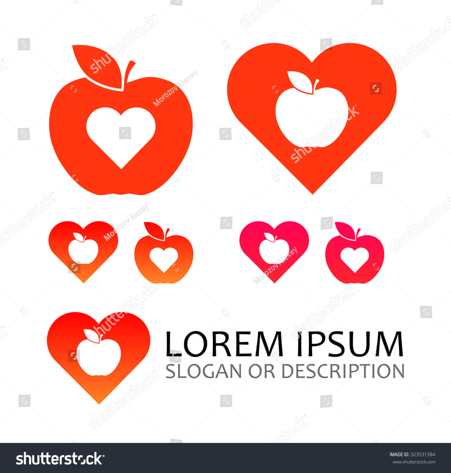 Logo Apple Fruit Hearts Isolated On Stock Vector Royalty Free