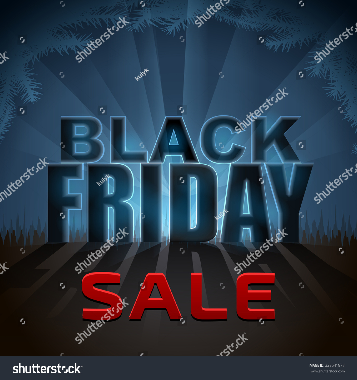 Black Friday Sale Element With Back Light Effect. Design