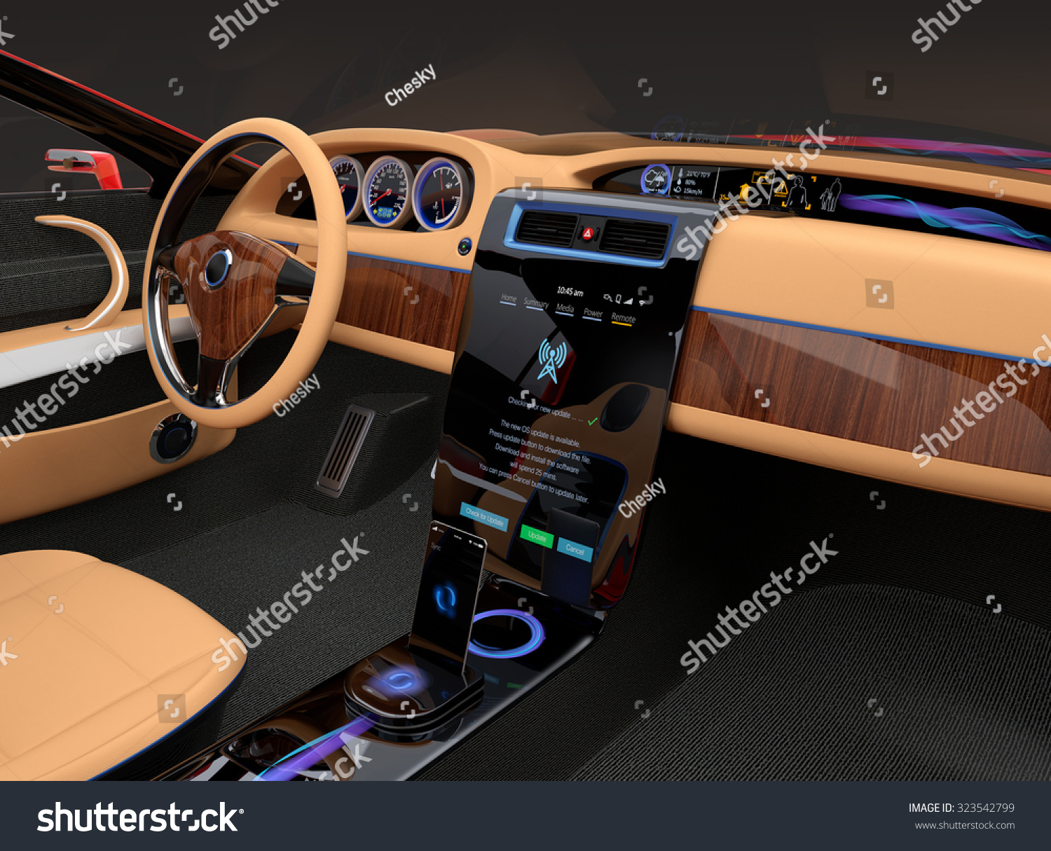 Stylish Electric Car Interior Luxury Wood Stock