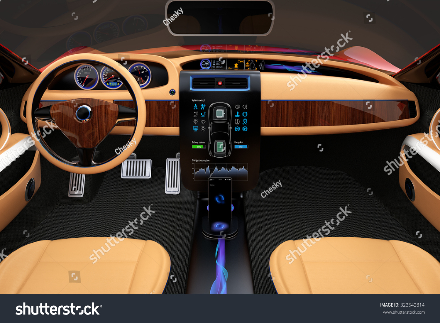stylish electric car interior luxury wood stock illustration 323542814 shutterstock. Black Bedroom Furniture Sets. Home Design Ideas