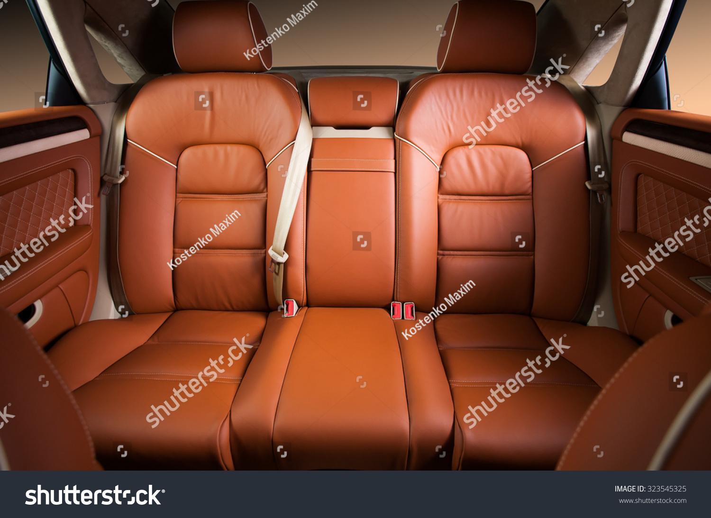 back passenger seats in modern comfortable car stock photo 323545325 shutterstock. Black Bedroom Furniture Sets. Home Design Ideas