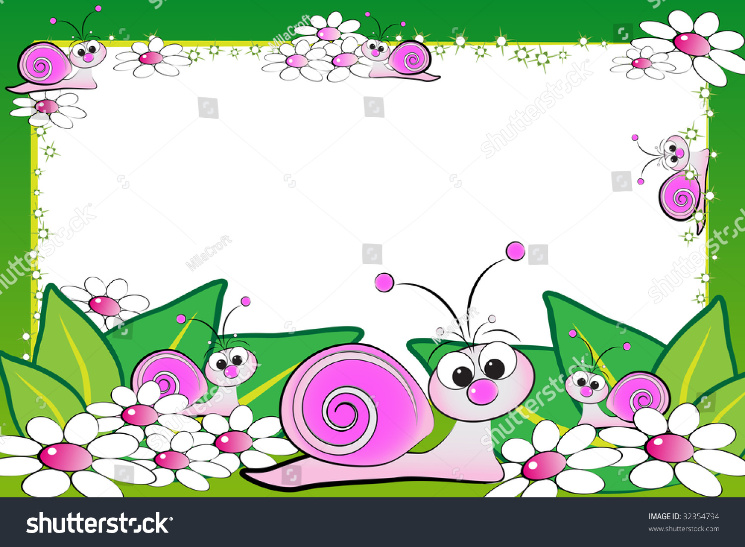 Kid scrapbook with snails and white daisies - Photo or message ...