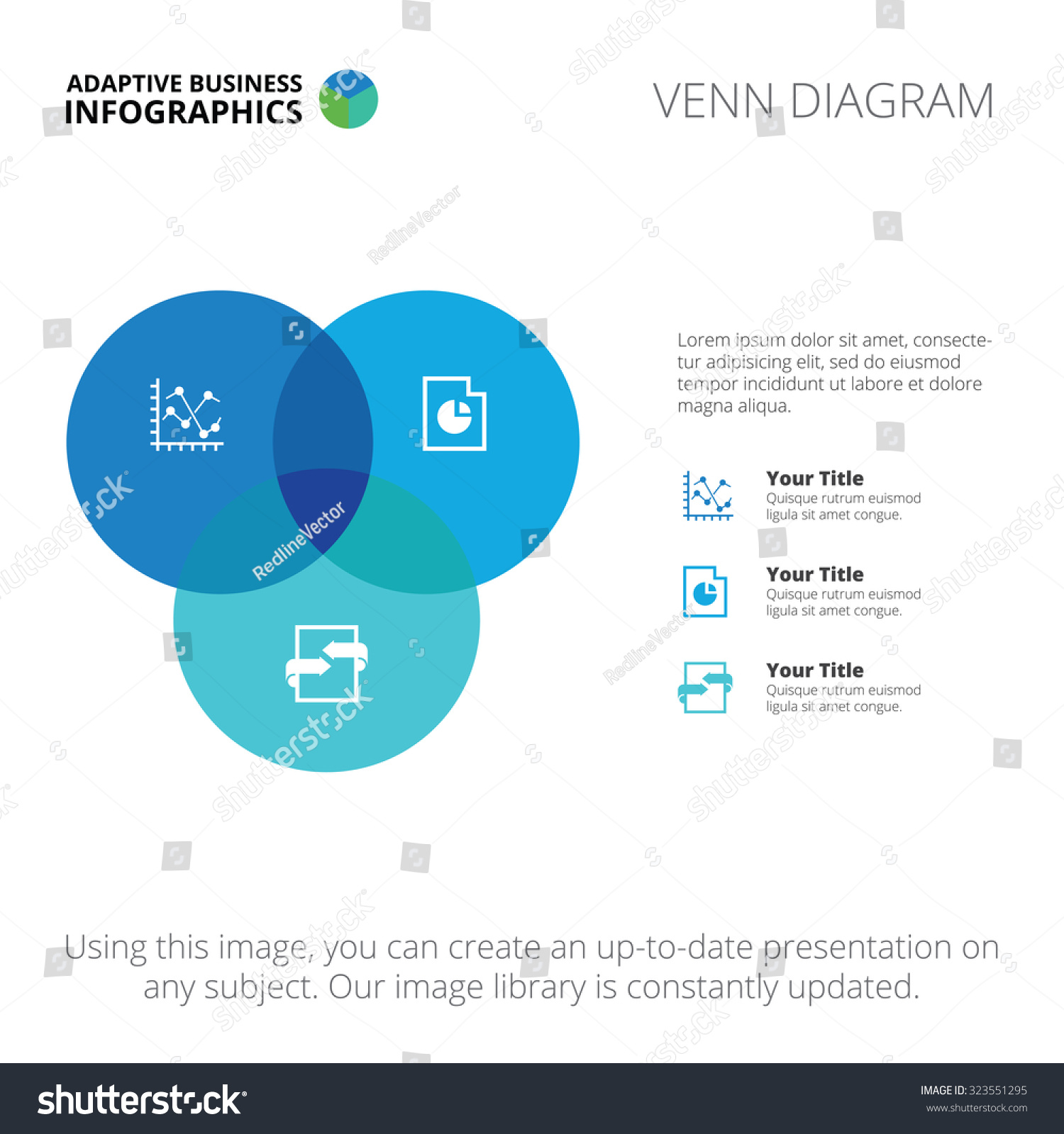 Editable infographic template venn diagram blue stock vector editable infographic template of venn diagram blue and light blue version pooptronica Gallery