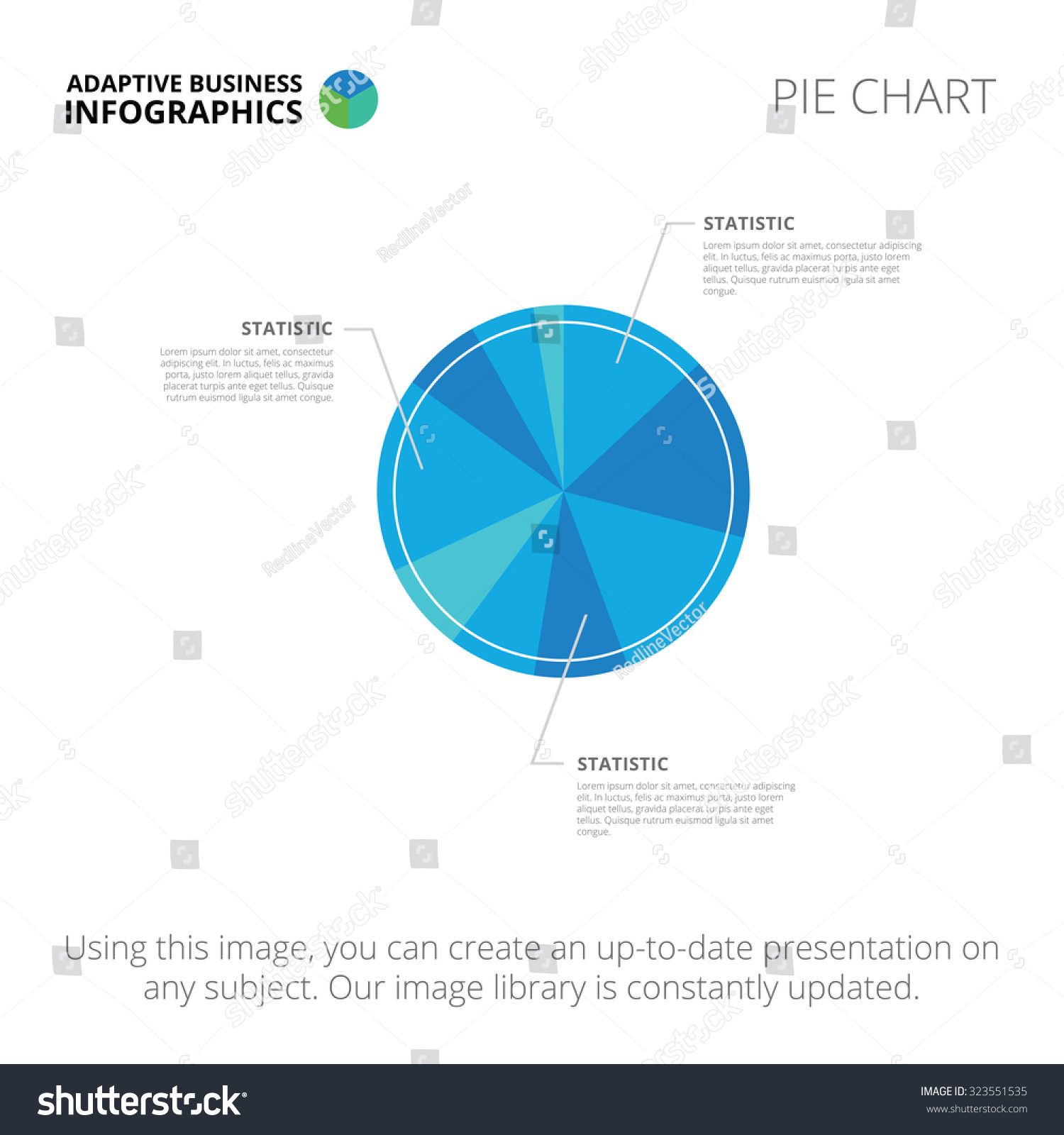 Editable infographic template pie chart blue stock vector editable infographic template of pie chart blue and light blue version nvjuhfo Images