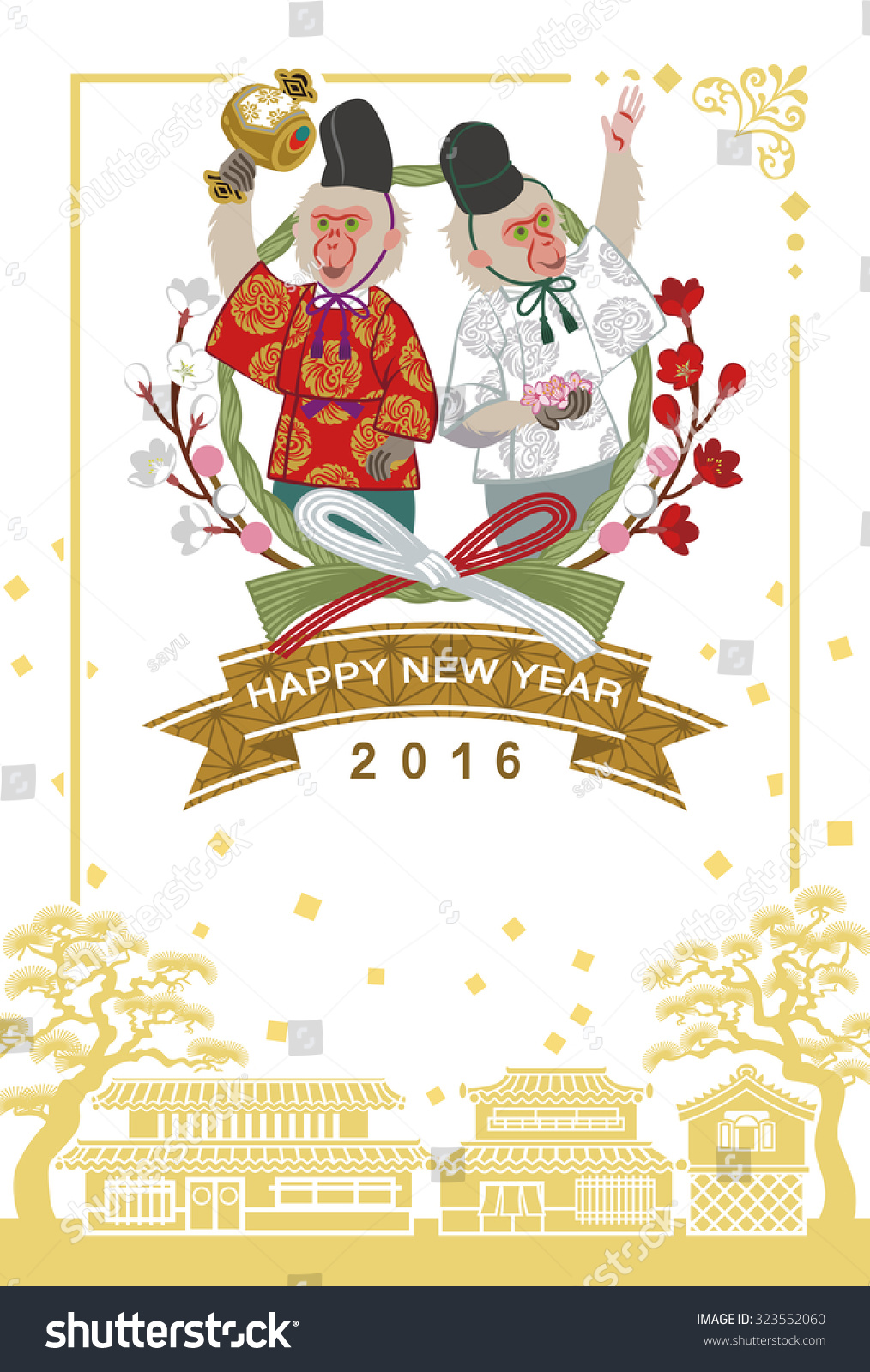japanese dressed two monkeys japanese new year card