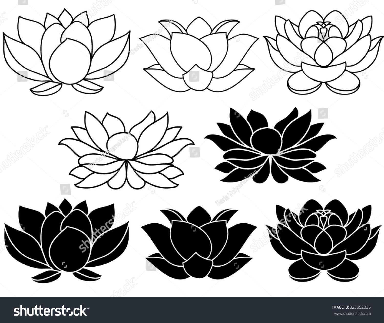 Lotus flowers black white silhouettes set stock vector royalty free lotus flowers black and white silhouettes set of three vector hand drawn illustrations mightylinksfo