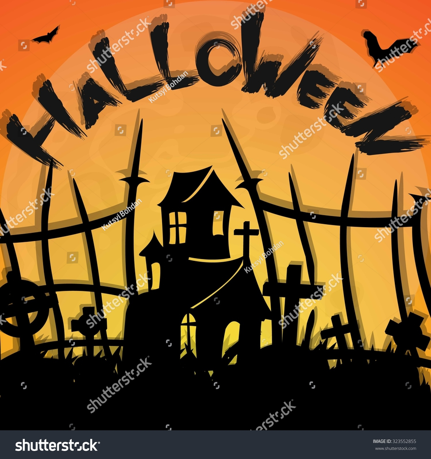 halloween poster template cemetery old church stock vector 323552855