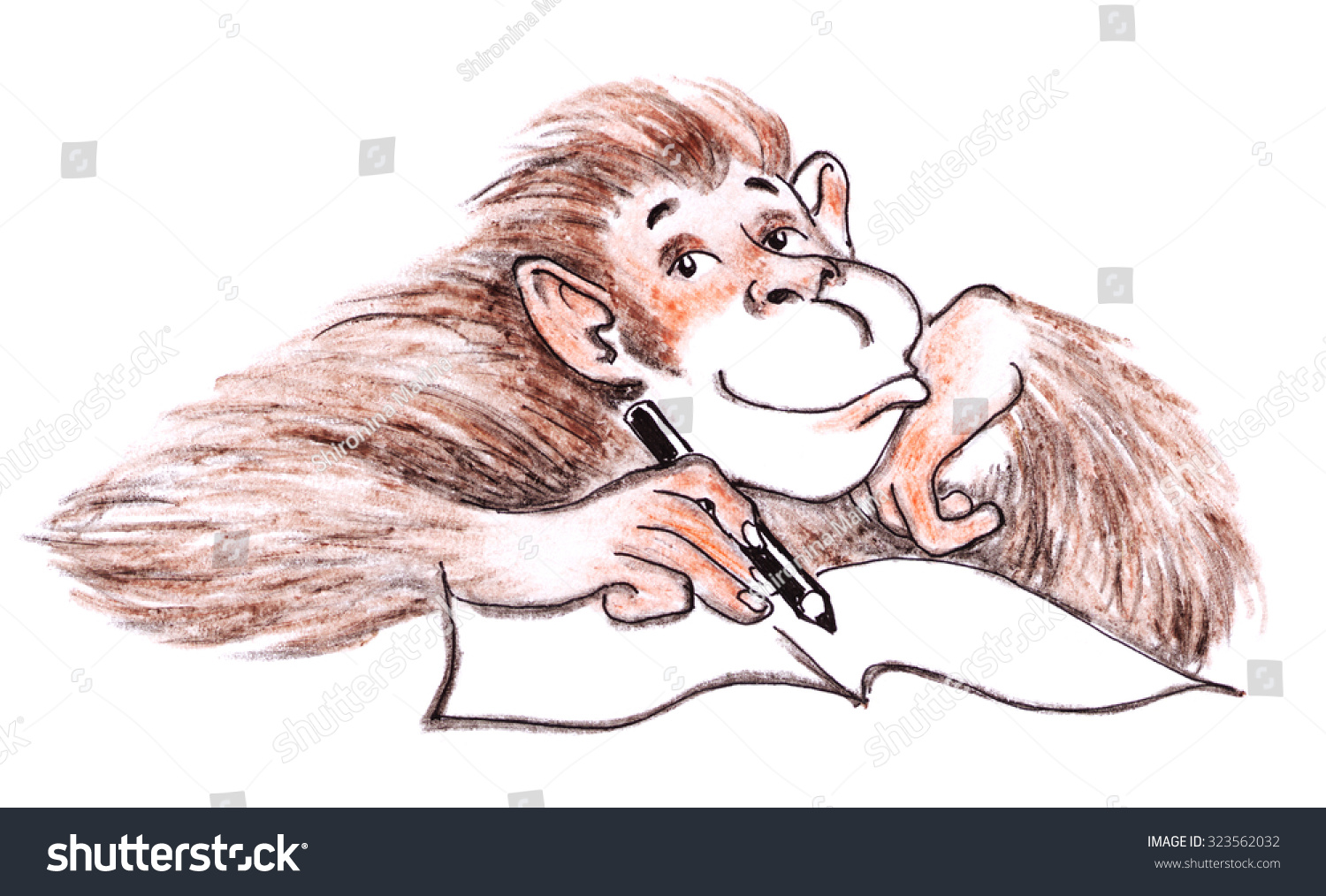 Pencil sketch brown monkey hand drawing animal illustration funny chimpanzee with book and pen