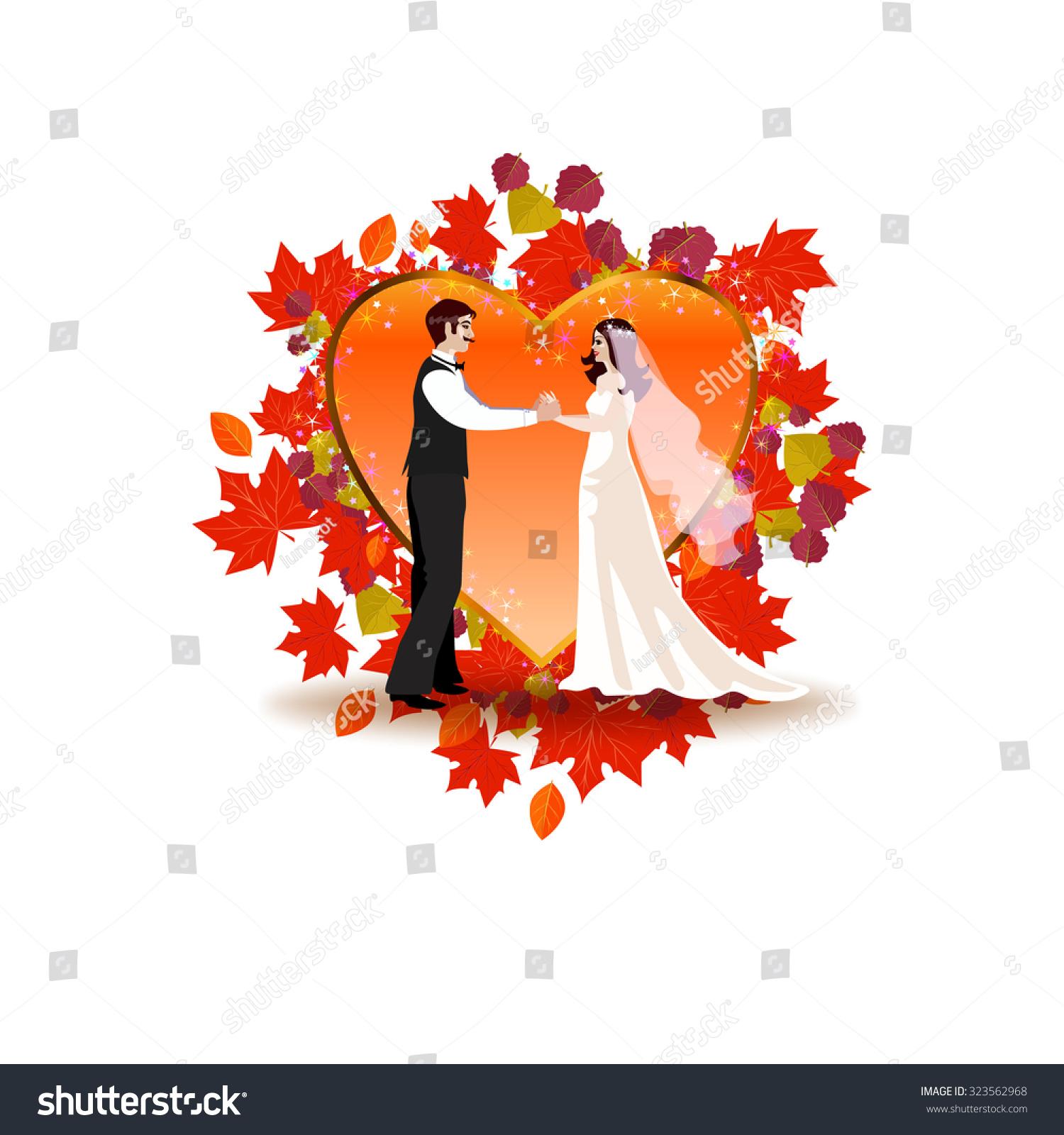 Romantic Autumn Wedding Invitation Frame Form Stock Vector (Royalty ...