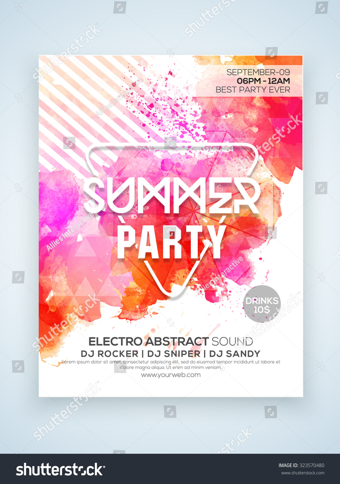 creative stylish summer party celebration one page flyer banner or