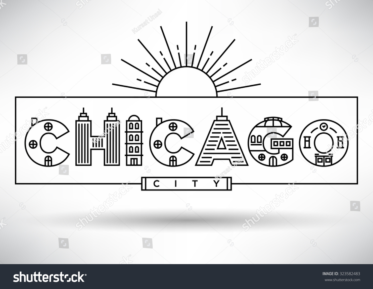 chicago city typography design with building letters