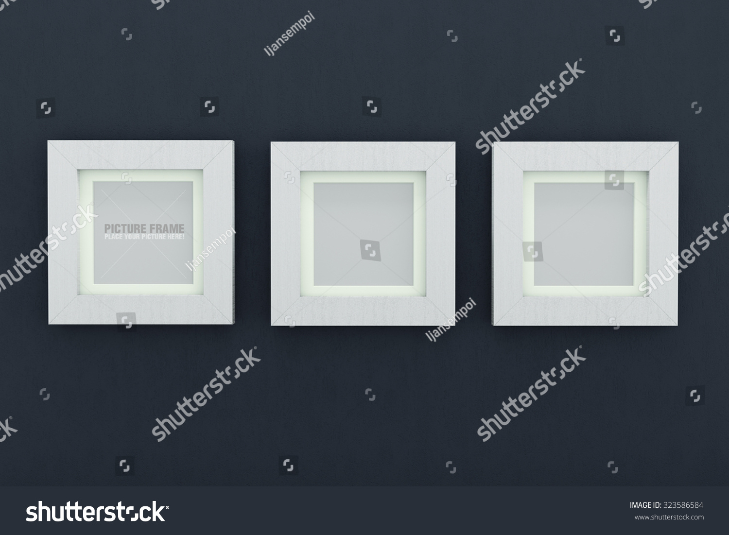 Three Square Size White Wooden Picture Stock Illustration 323586584 ...