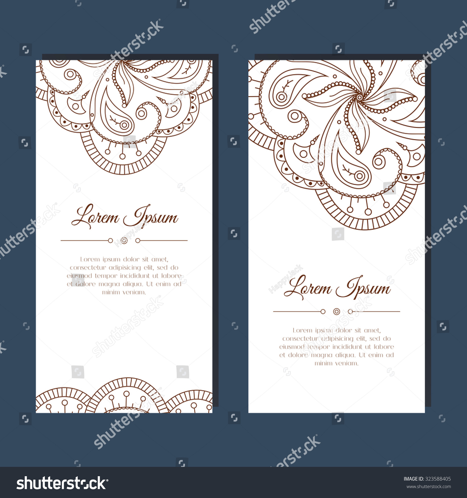 Cute Greeting Card Floral Zentangle Mehndi Stock Vector