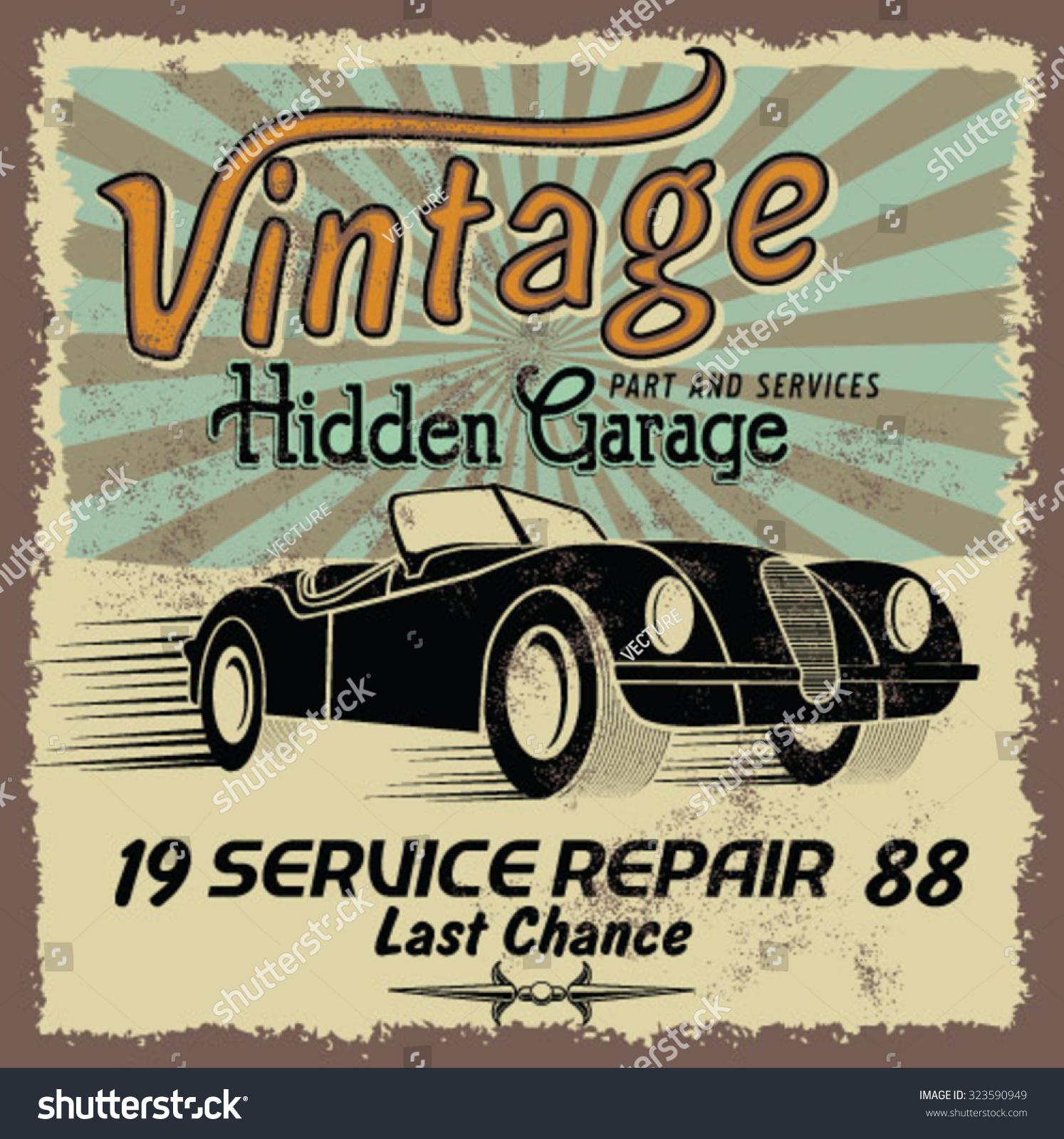 Vintage Race Car Printingvector Old School Stock Photo (Photo ...