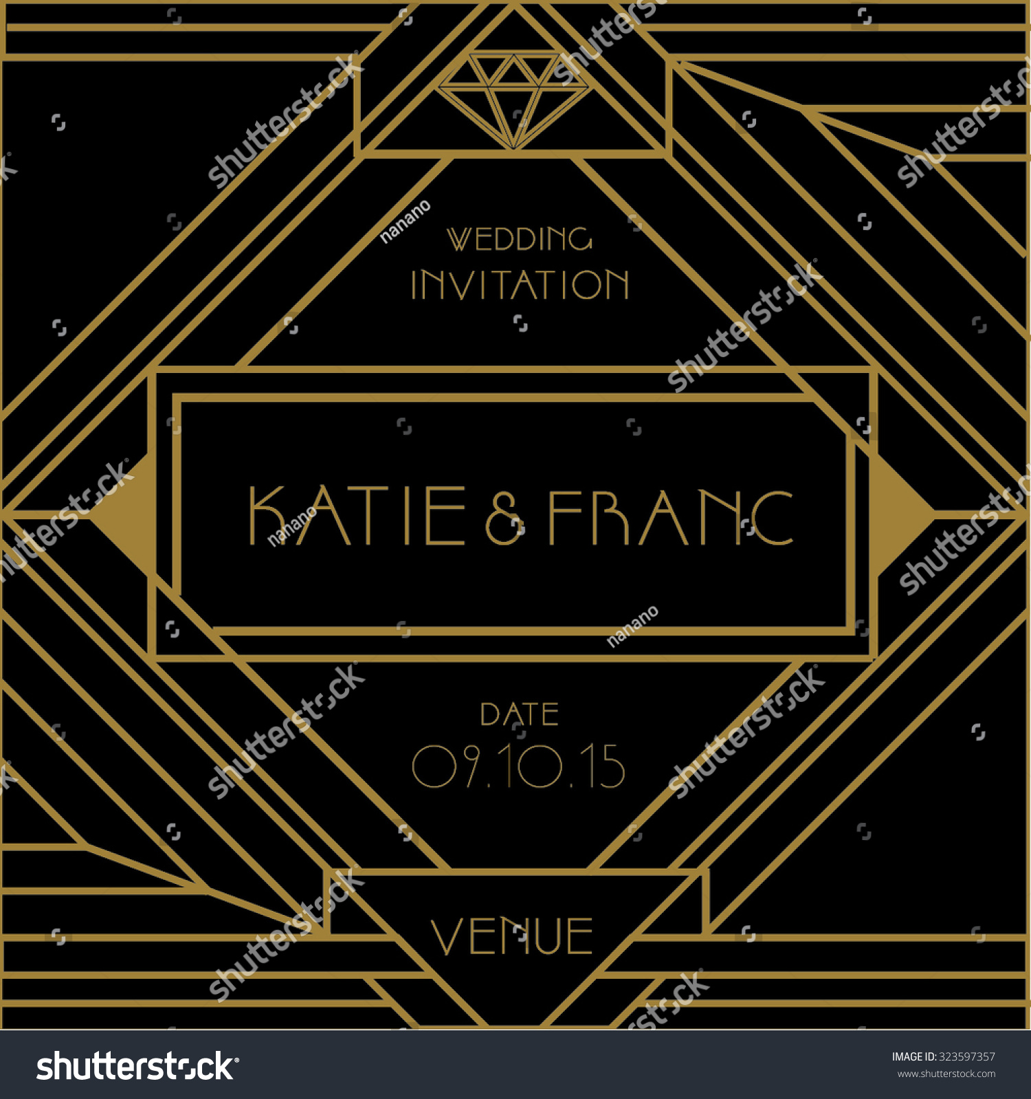 Art deco wedding invitation card vector stock vector 323597357 art deco wedding invitation card vector stock vector 323597357 shutterstock stopboris