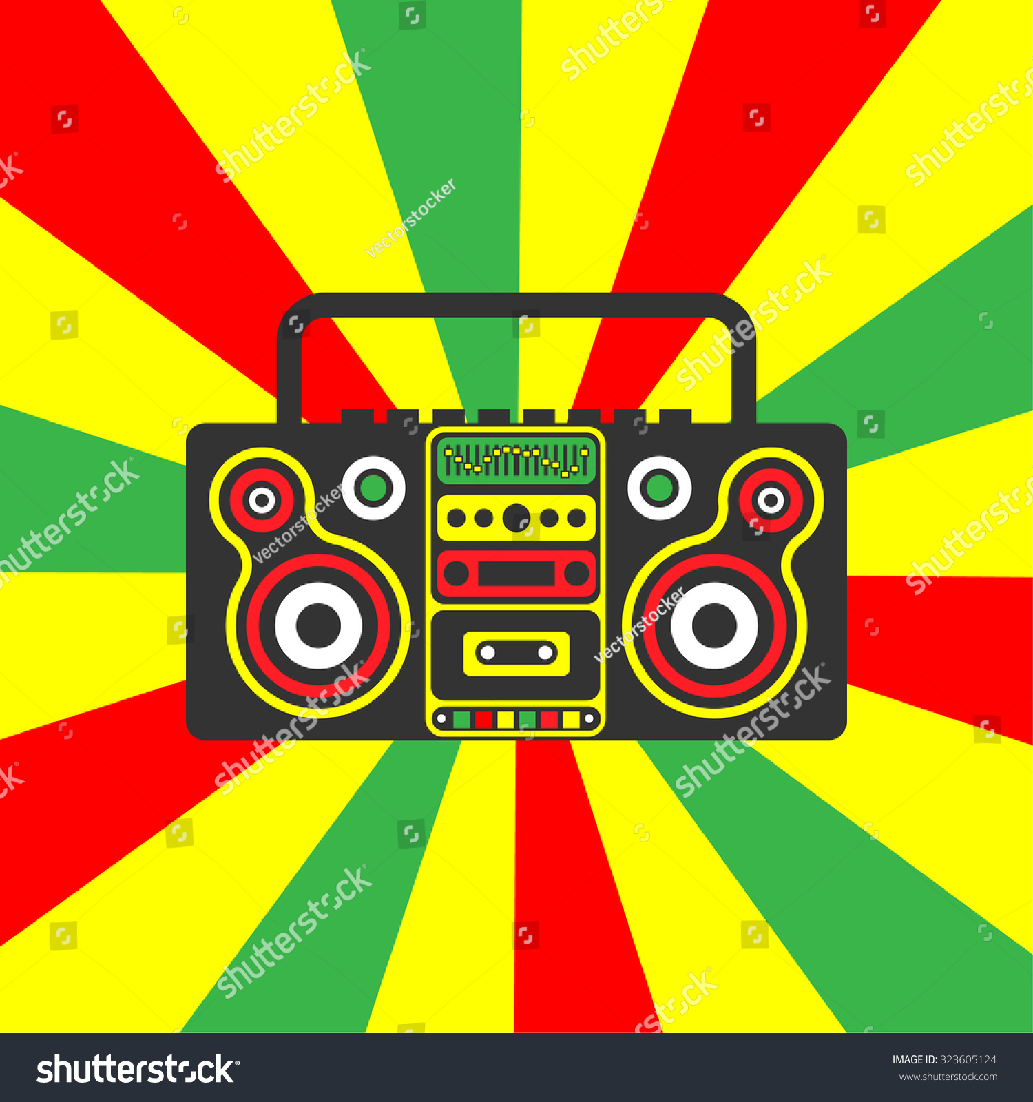 Reggae Rastafarian Boombox On Striped Red Vector de stock323605124 ...