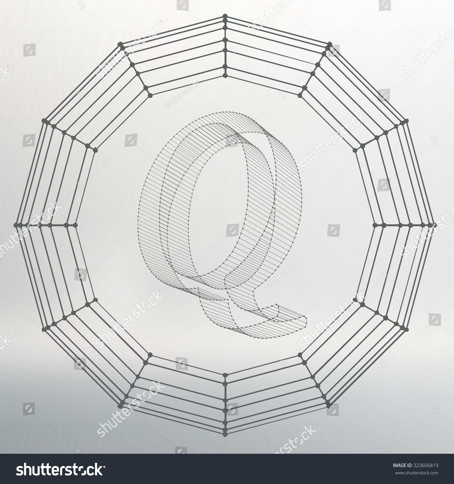 Vector illustration of letter Q. Fonts of Mesh polygonal. Wire frame  contour alphabets.