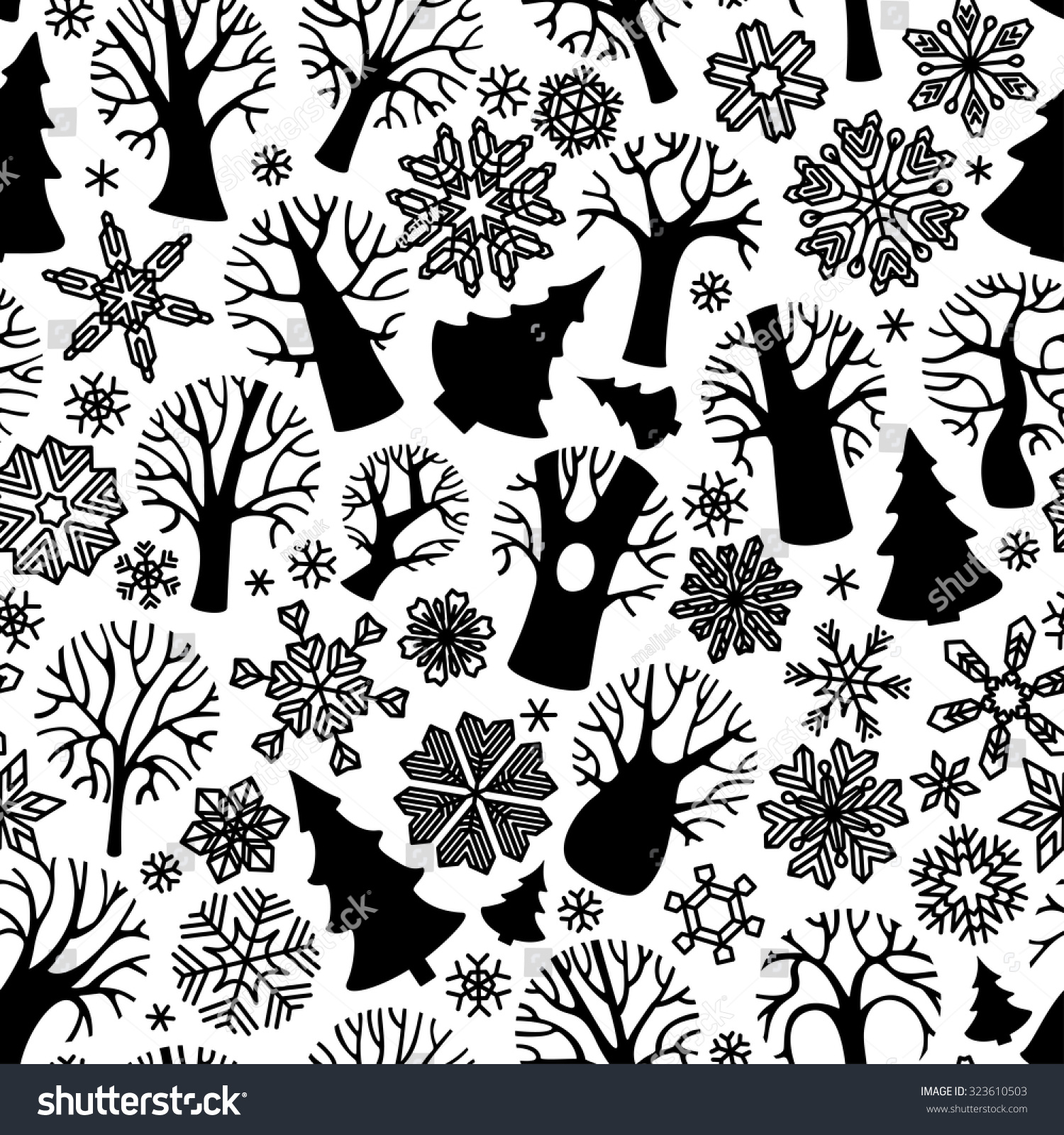 Seamless fir tree scandinavian pattern textile background wrapping - Seamless Winter Trees Pattern Black Silhouettes Of Deciduous Trees Firs And Snowflakes On White