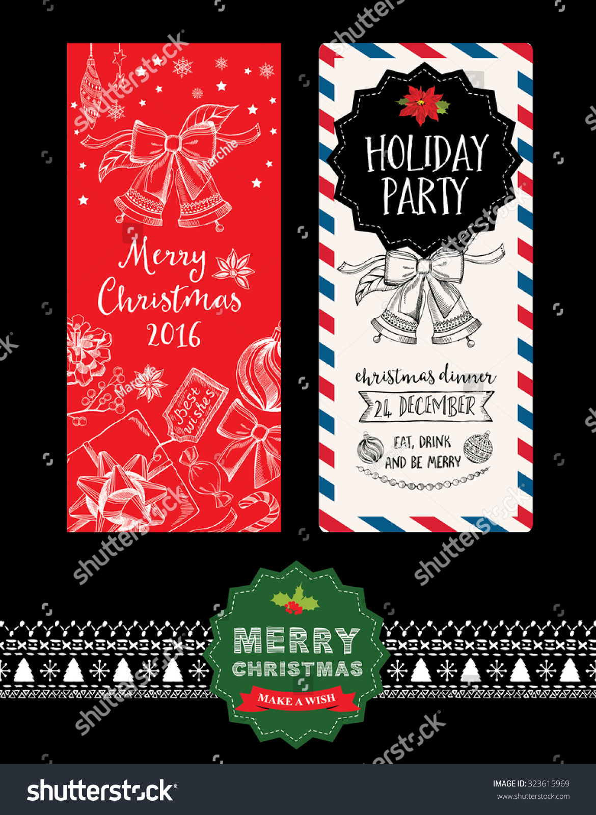 Christmas party invitation Holiday card Vector template with graphic