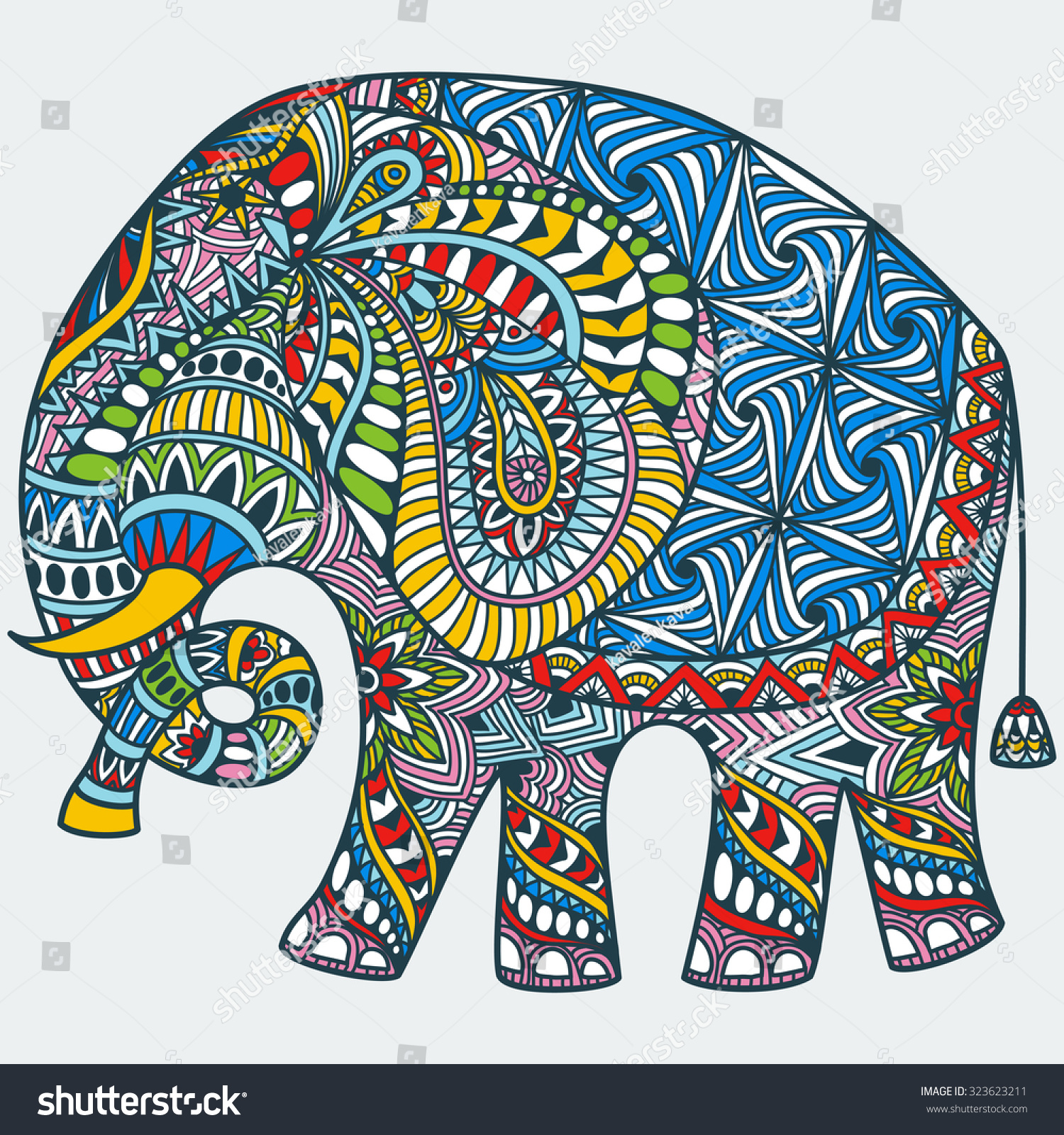 Painted Elephant Coloring Pages