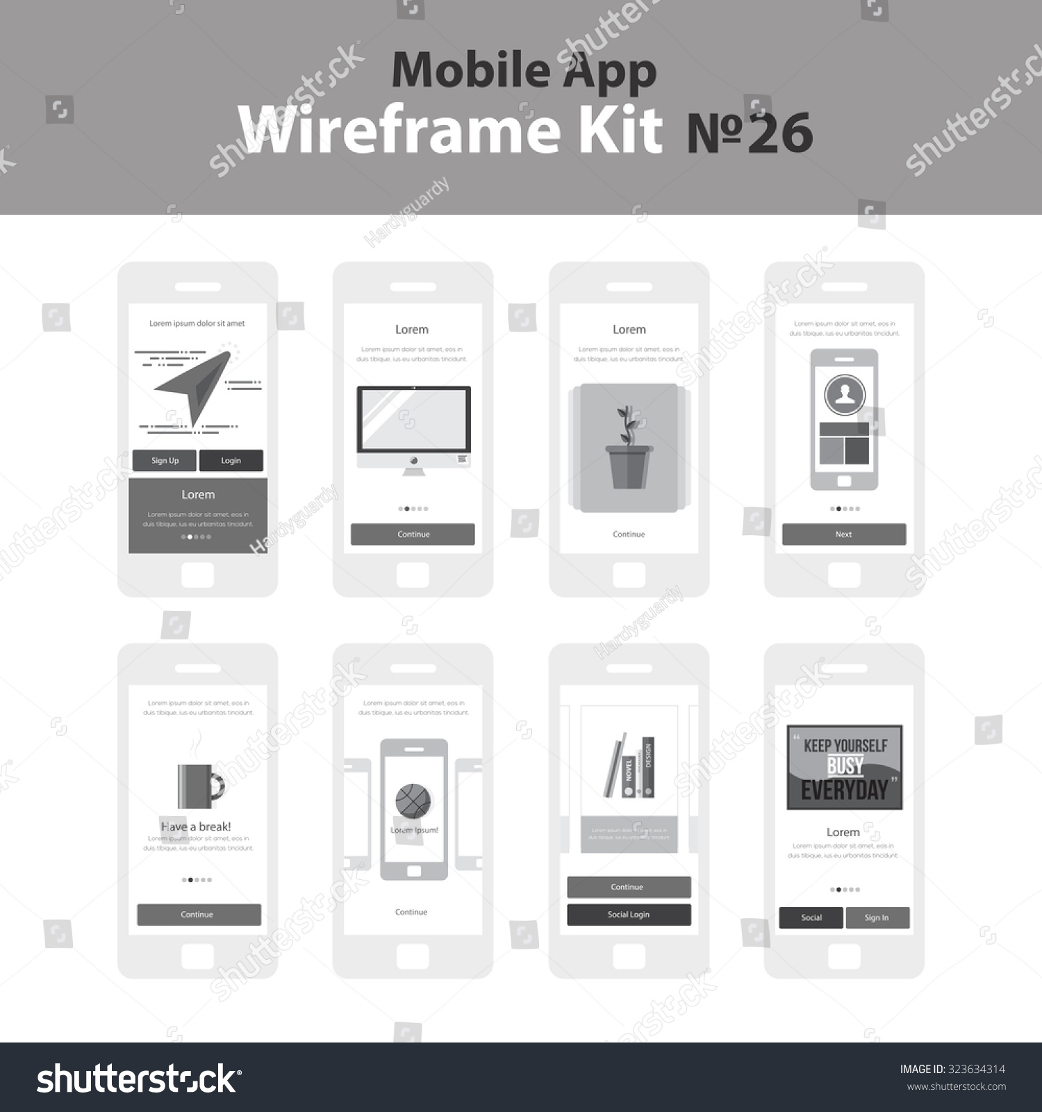 Mobile Wireframe App Ui Kit 26 Stock Vector 323634314 - Shutterstock