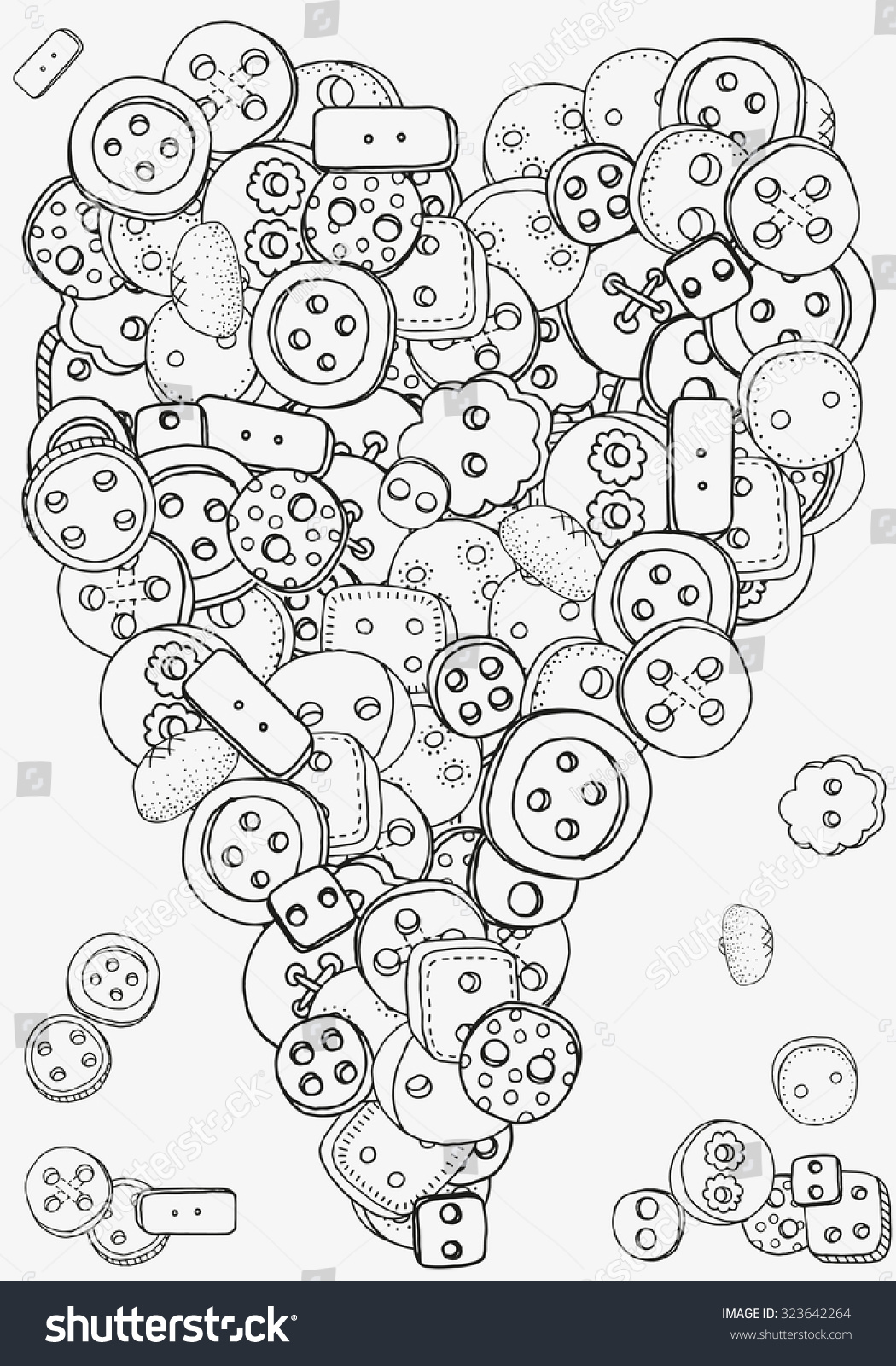 heart shape pattern clothes buttons coloring stock vector