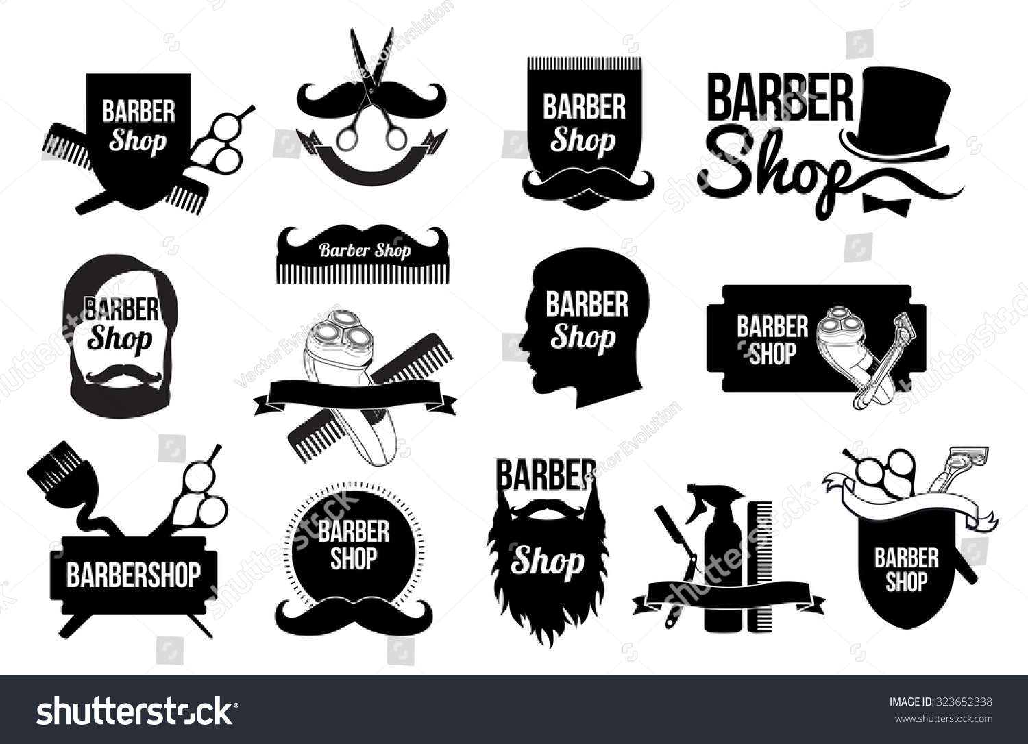 Set Of Barber Shop Logos And Designs Blank Form For The Hairdresser Scissors Straight Razors