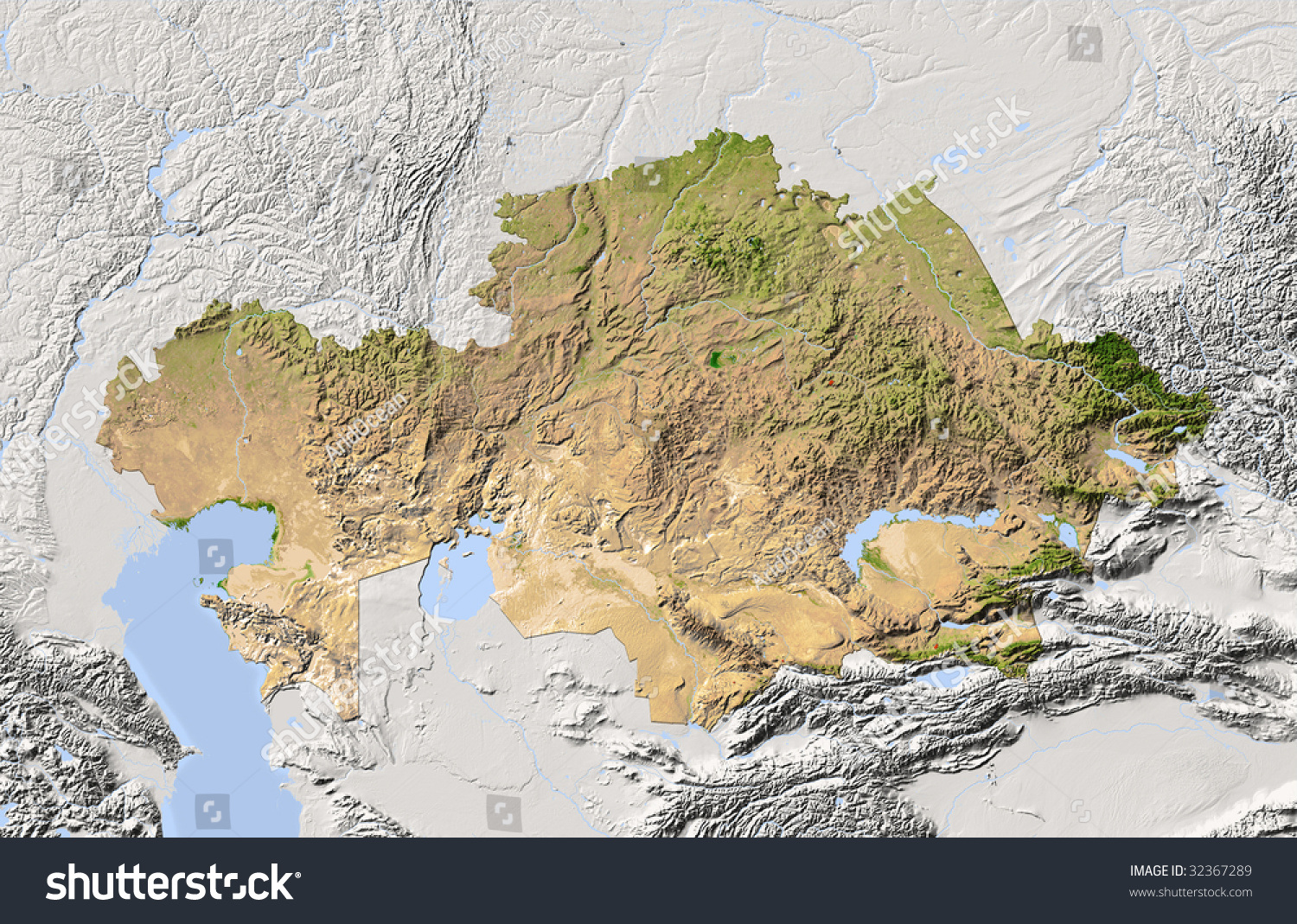 Kazakhstan Shaded Relief Map Colored According Stock Illustration ...