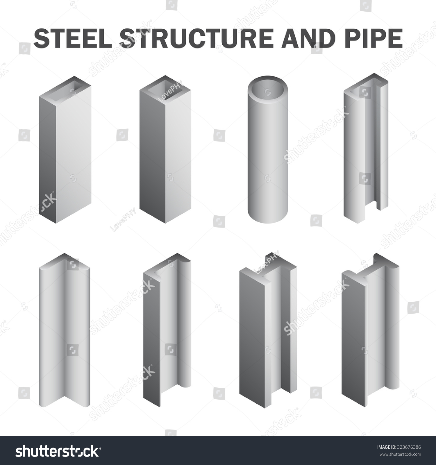 Steel pipe beam construction material stock vector