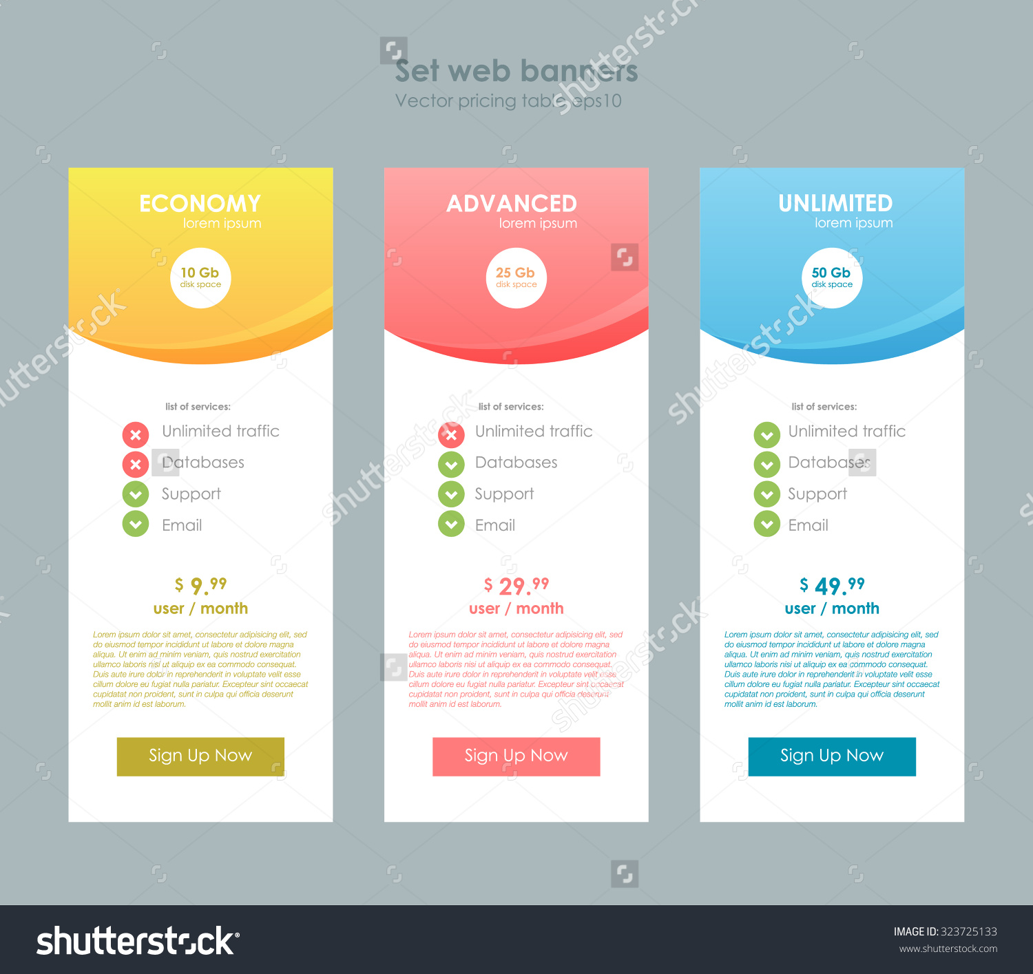 Three tariffs interface for the site ui ux vector banner for Site plan app