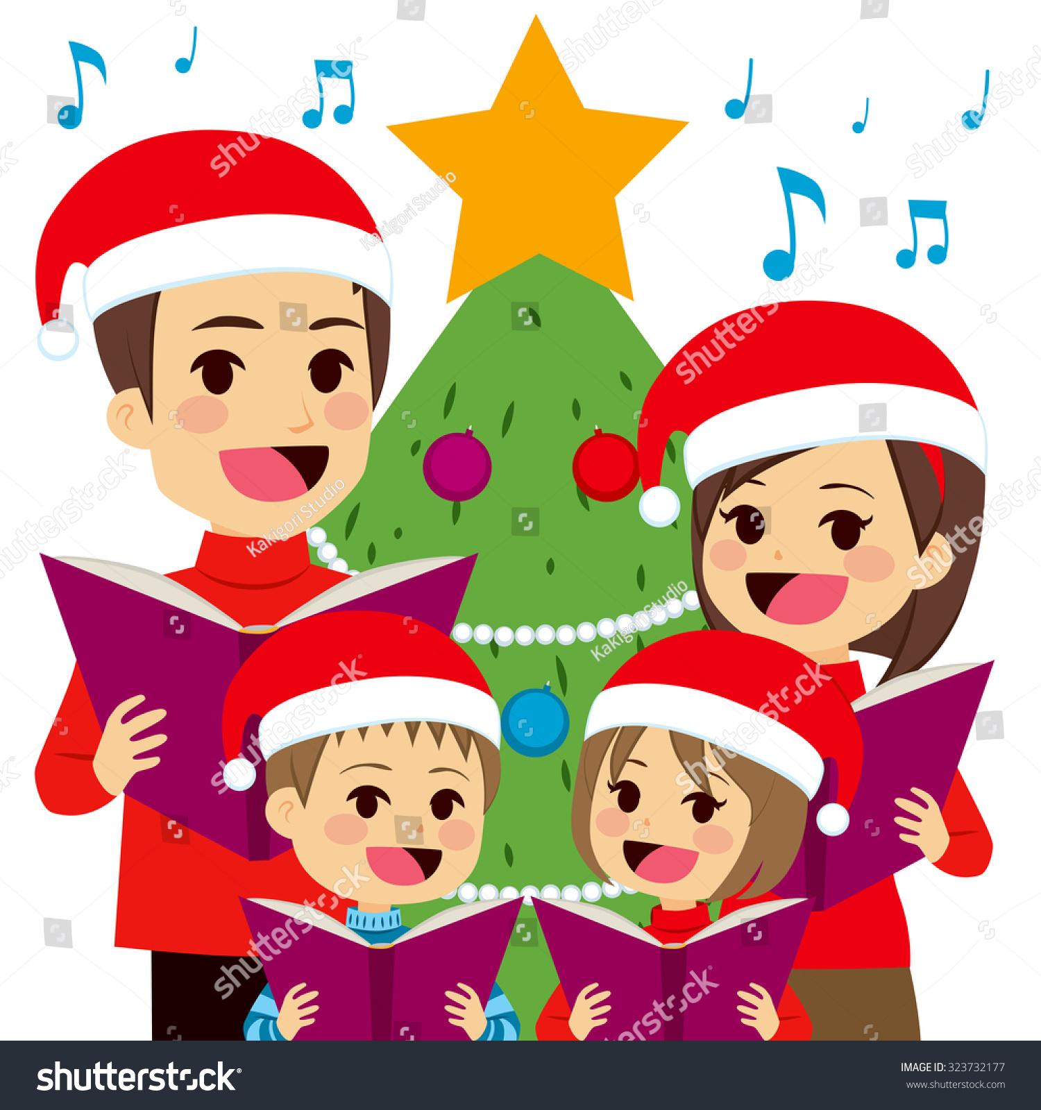 Happy family singing carols in front of christmas tree at home stock