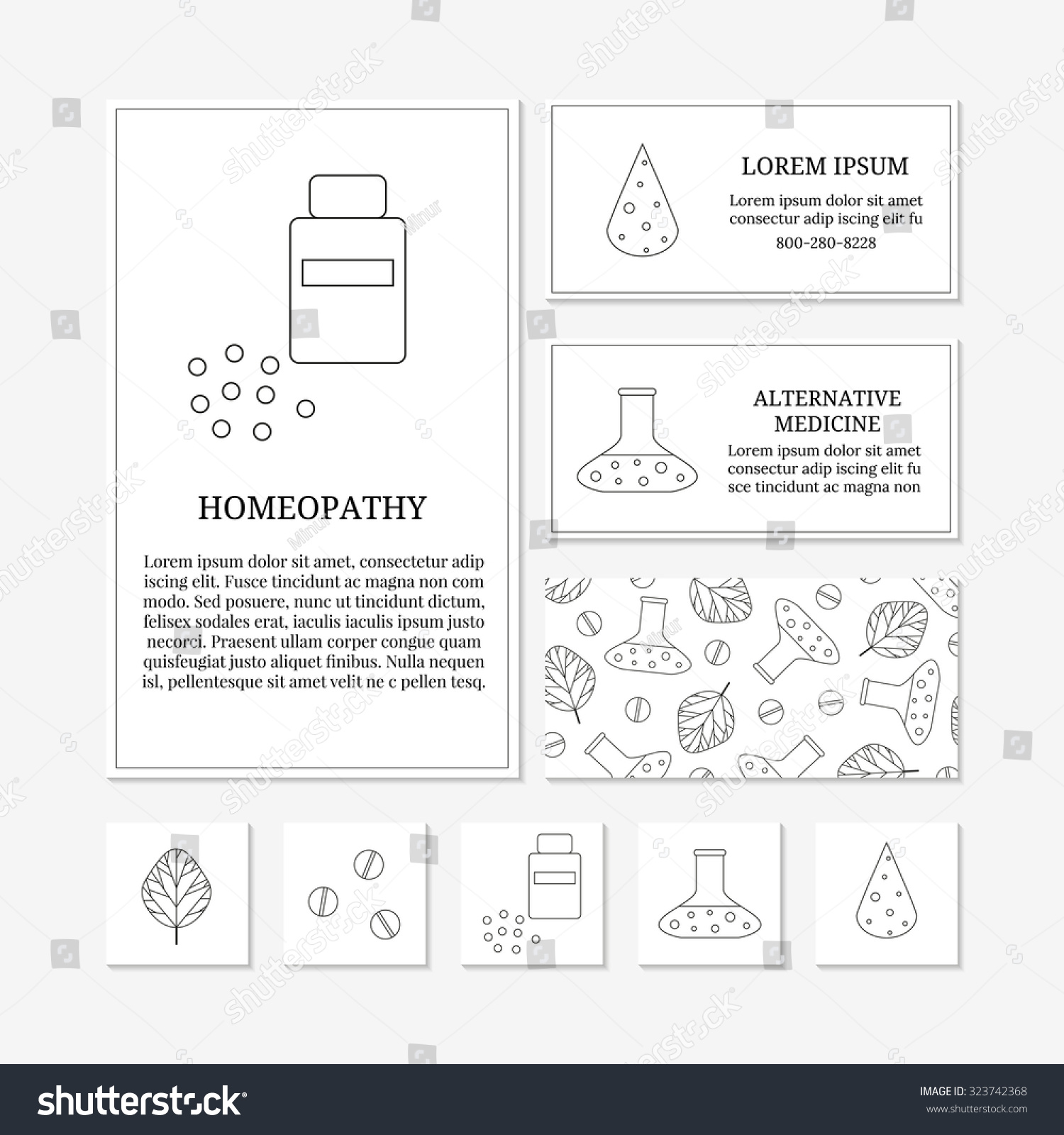 Business Card Templates Outline Medical Icons Stock Vector 323742368 ...