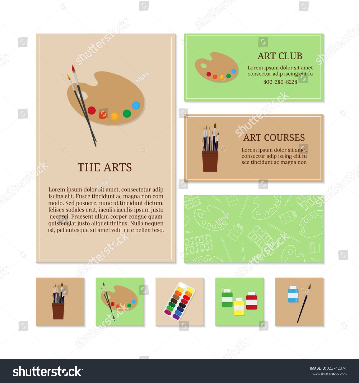 Business Card Templates Painting Tools Branding Stock Vector