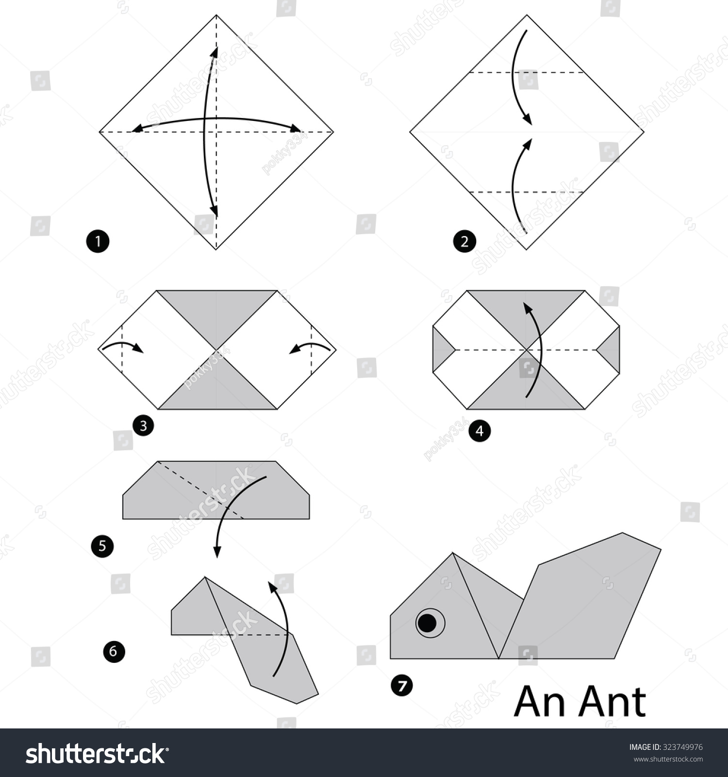 Step by step instructions how make stock vector 323749976 step by step instructions how to make origami ant jeuxipadfo Gallery